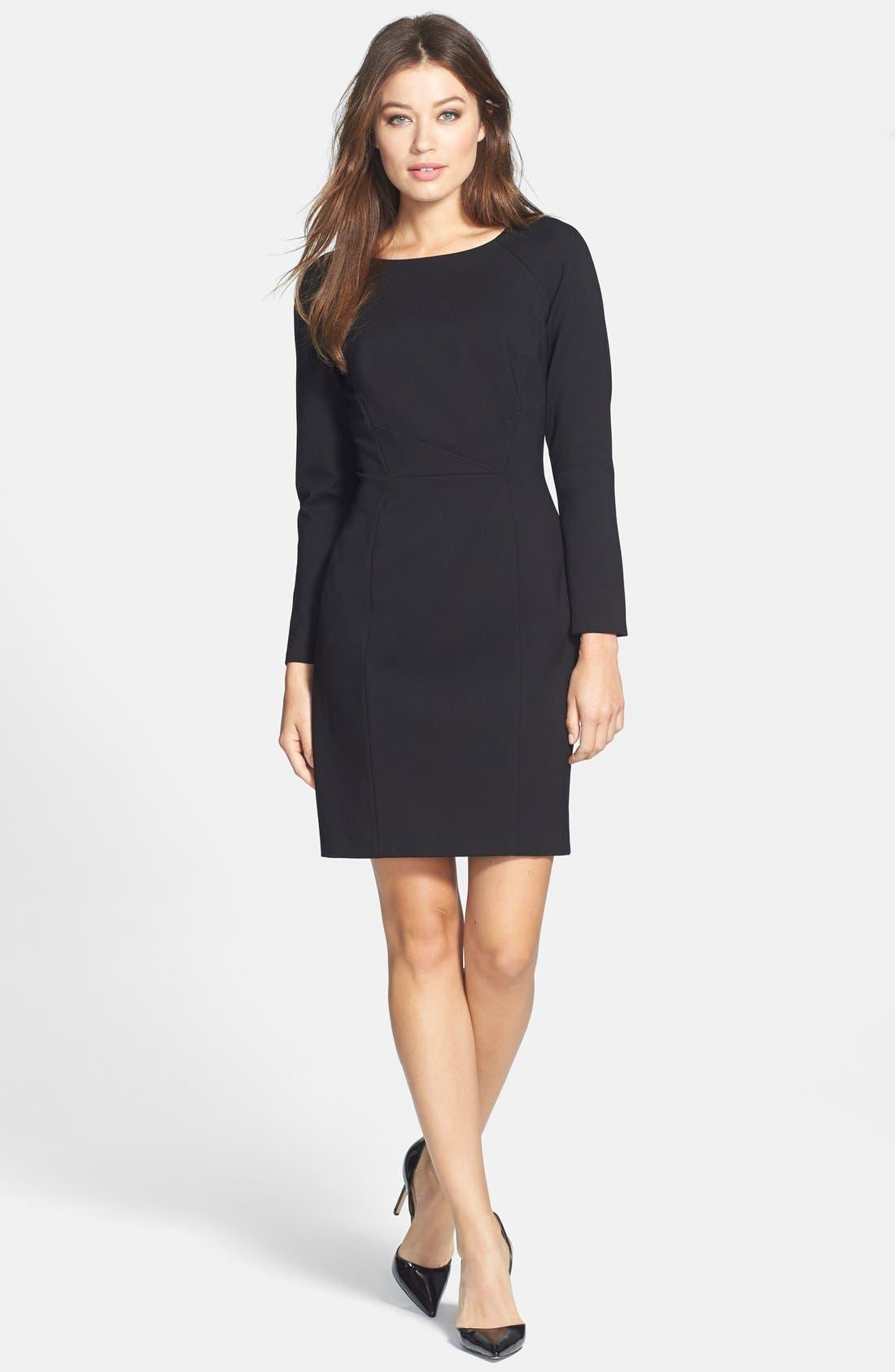 TAHARI, Pleat Detail Long Sleeve Ponte Sheath Dress, Alternate thumbnail 3, color, 001