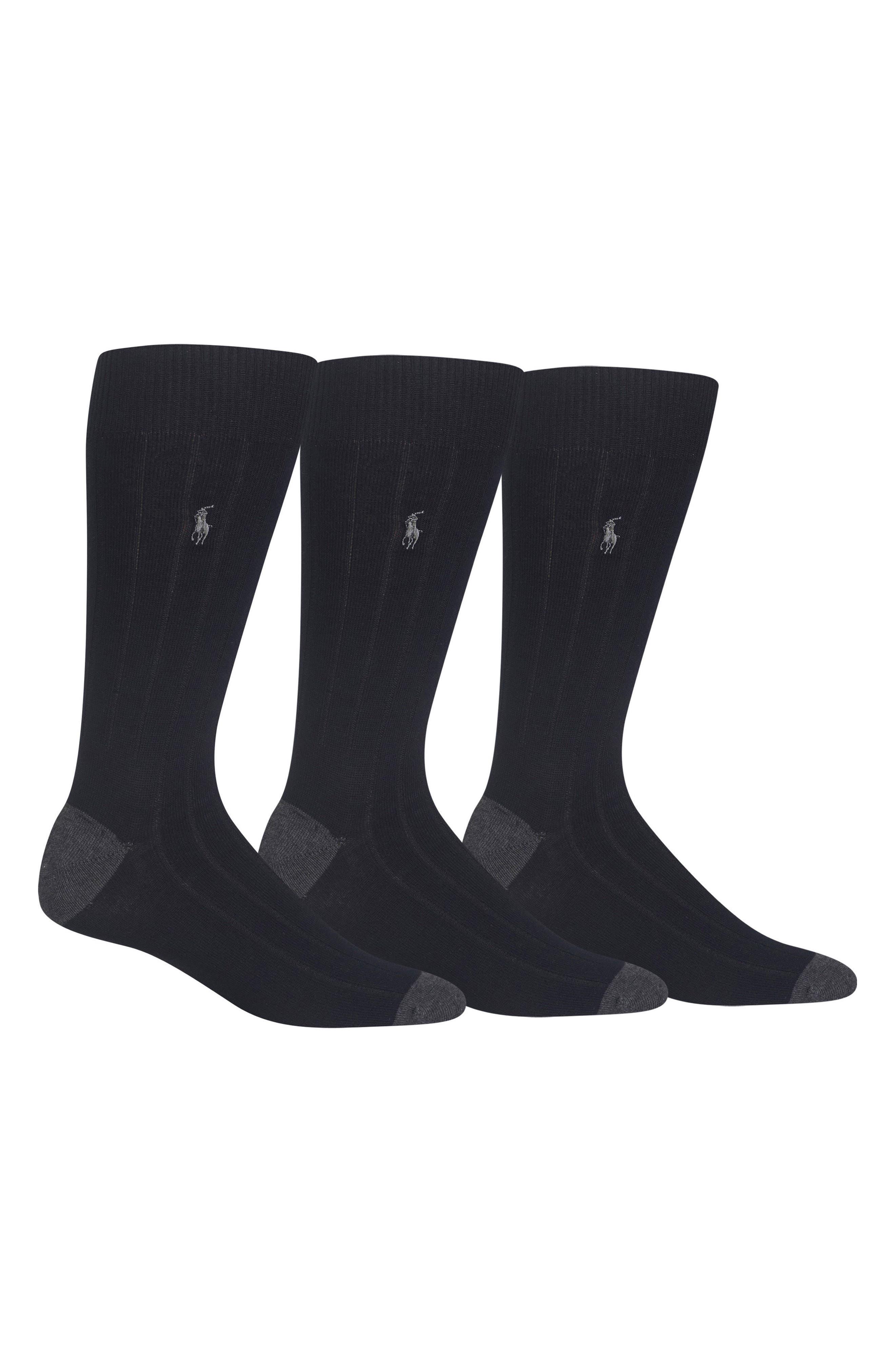 POLO RALPH LAUREN, 3-Pack Ribbed Socks, Main thumbnail 1, color, BLACK