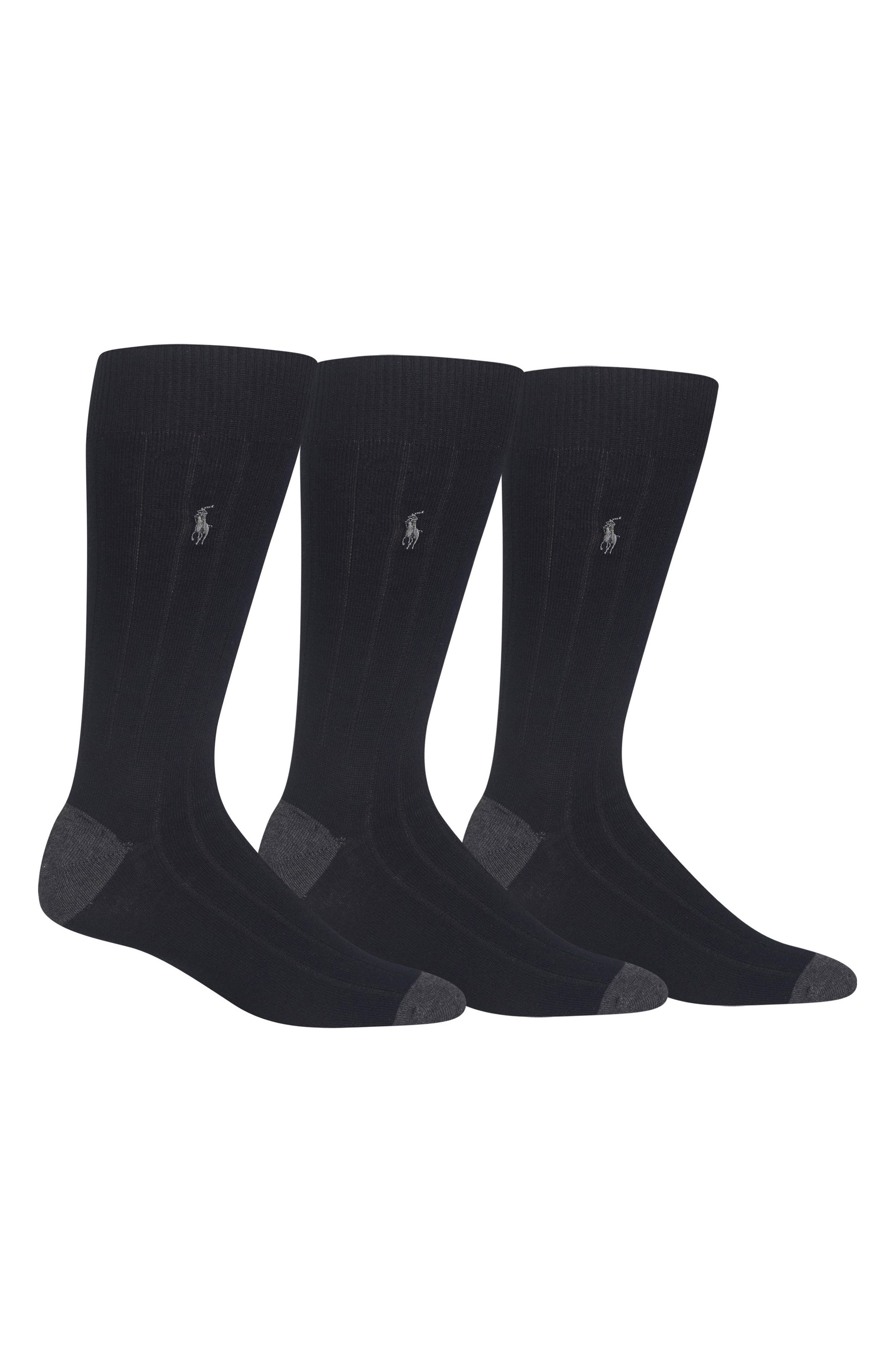 POLO RALPH LAUREN 3-Pack Ribbed Socks, Main, color, BLACK