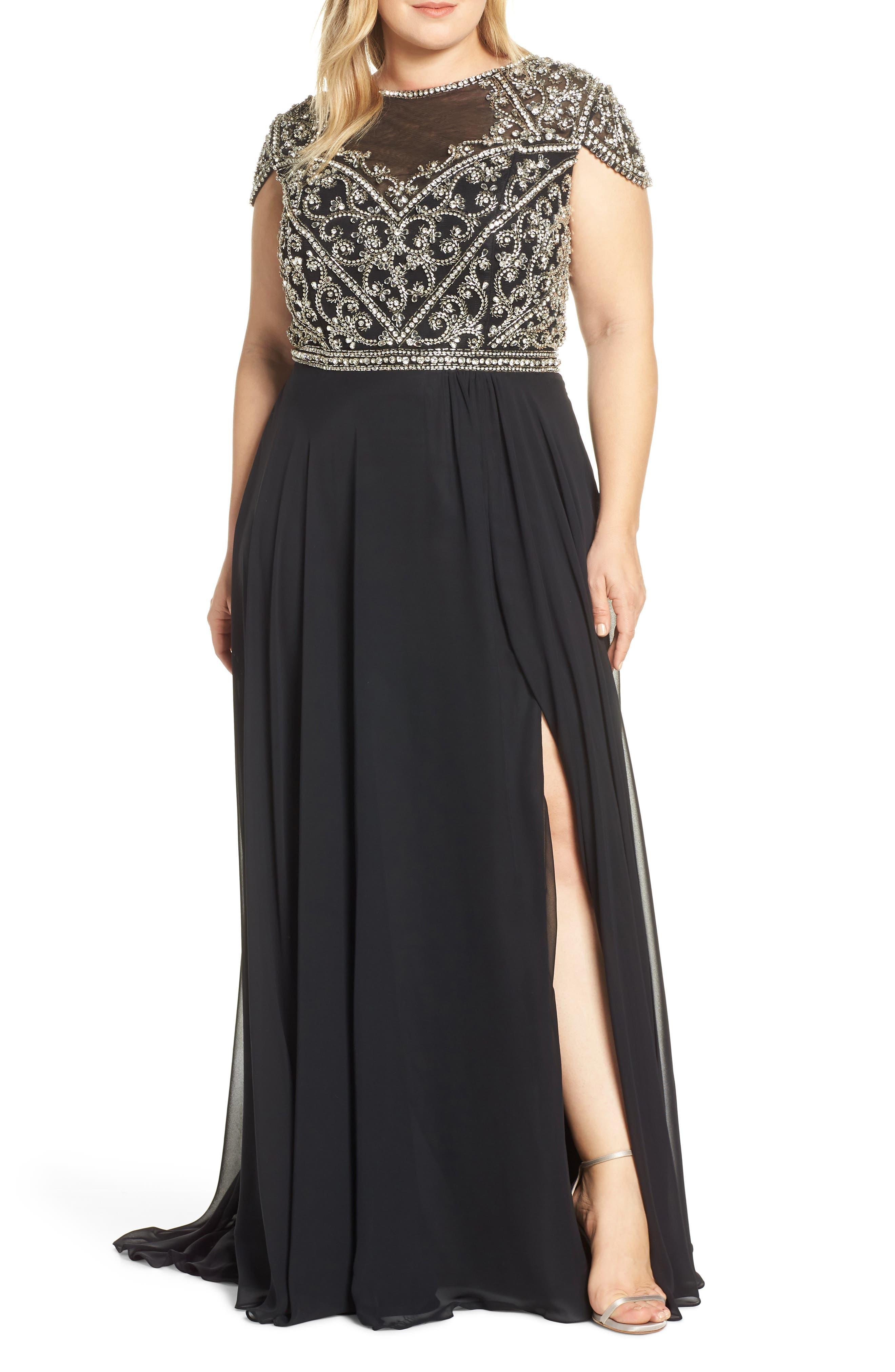 MAC DUGGAL, Embellished Bodice Evening Dress, Main thumbnail 1, color, BLACK