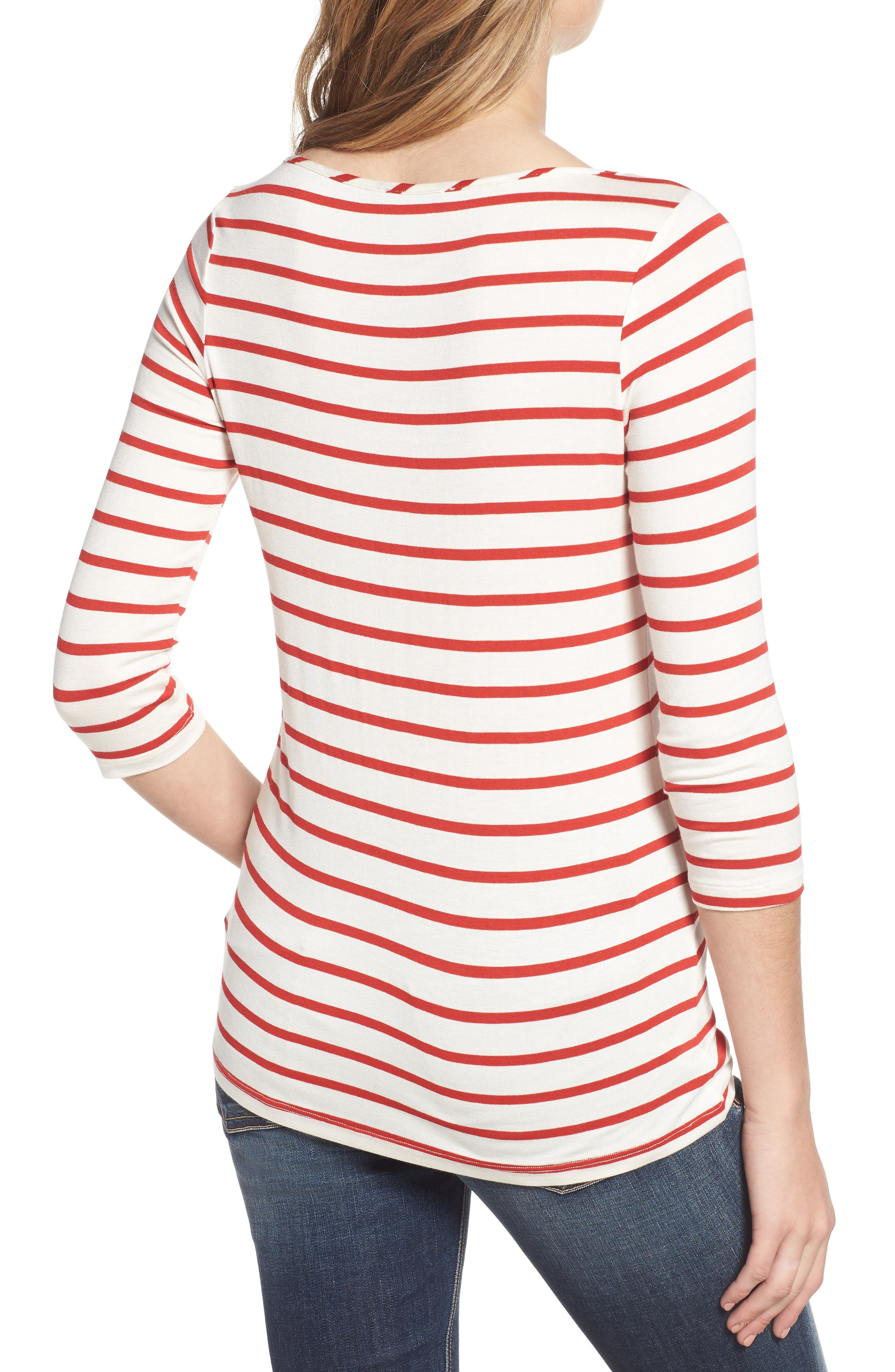 AMOUR VERT, Francoise Stretch Jersey Top, Alternate thumbnail 2, color, POPPY STRIPE