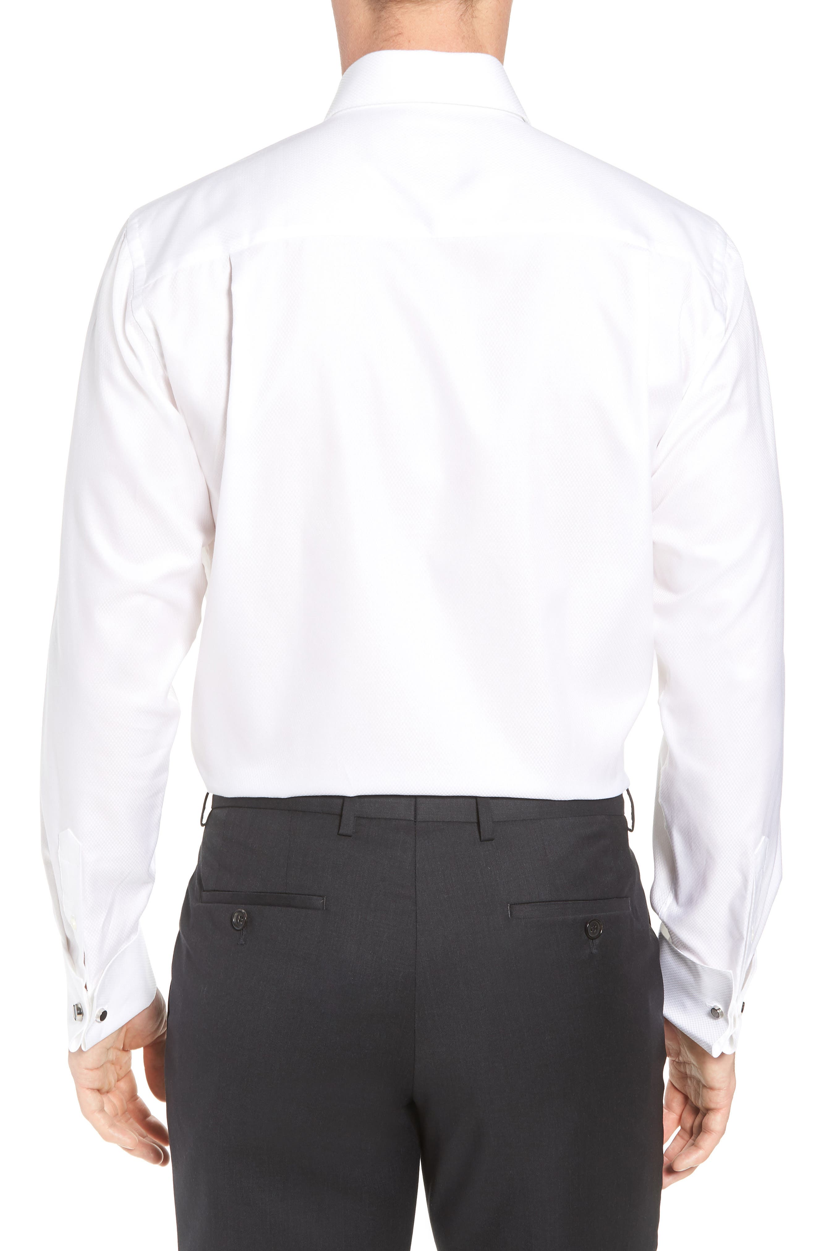 DAVID DONAHUE, Regular Fit Solid French Cuff Tuxedo Shirt, Alternate thumbnail 3, color, WHITE / WHITE