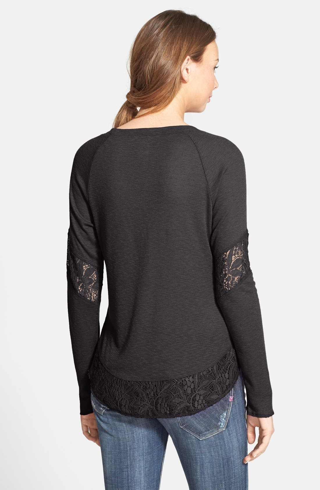 SUN & SHADOW, Lace Trim Thermal Top, Alternate thumbnail 2, color, 201