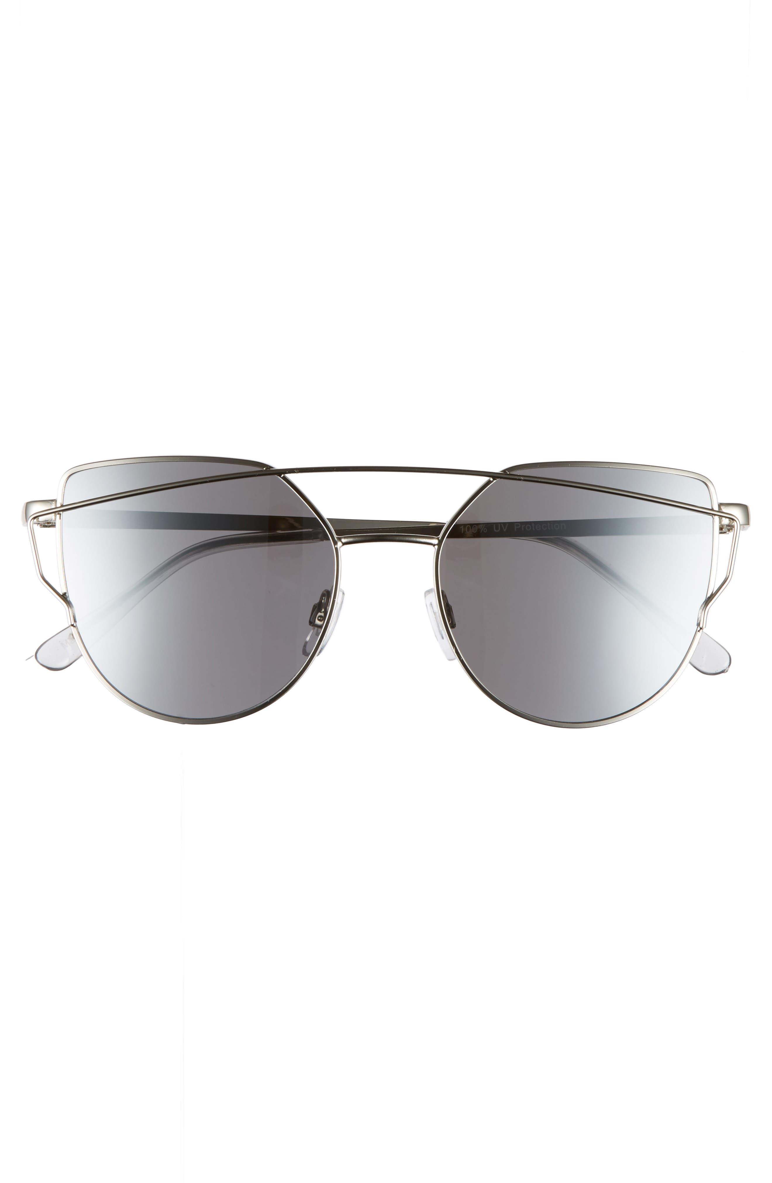 BP., 51mm Thin Brow Angular Aviator Sunglasses, Alternate thumbnail 3, color, 040