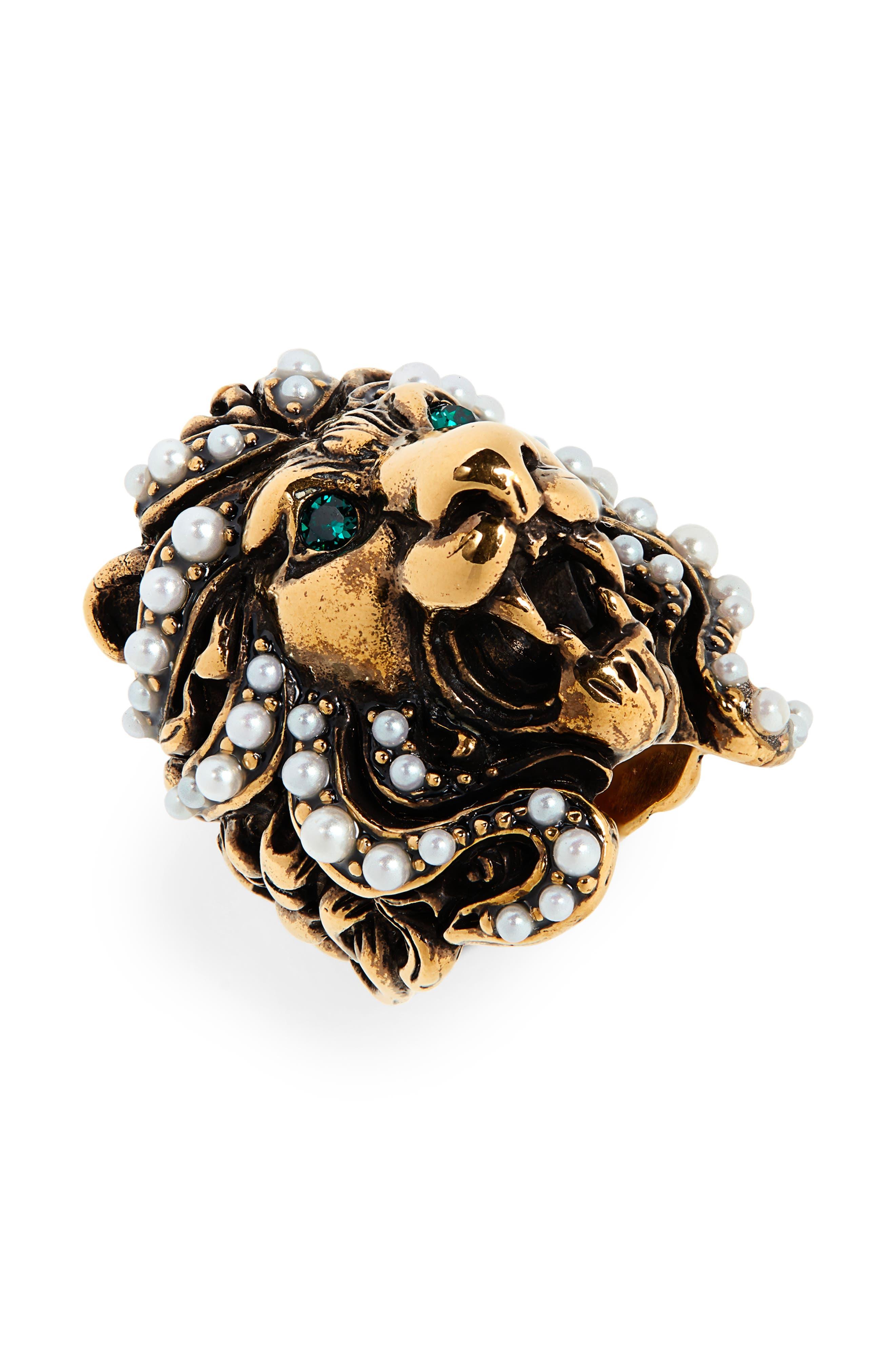 GUCCI Lion Head Imitation Pearl & Crystal Ring, Main, color, GOLD/ PEARL
