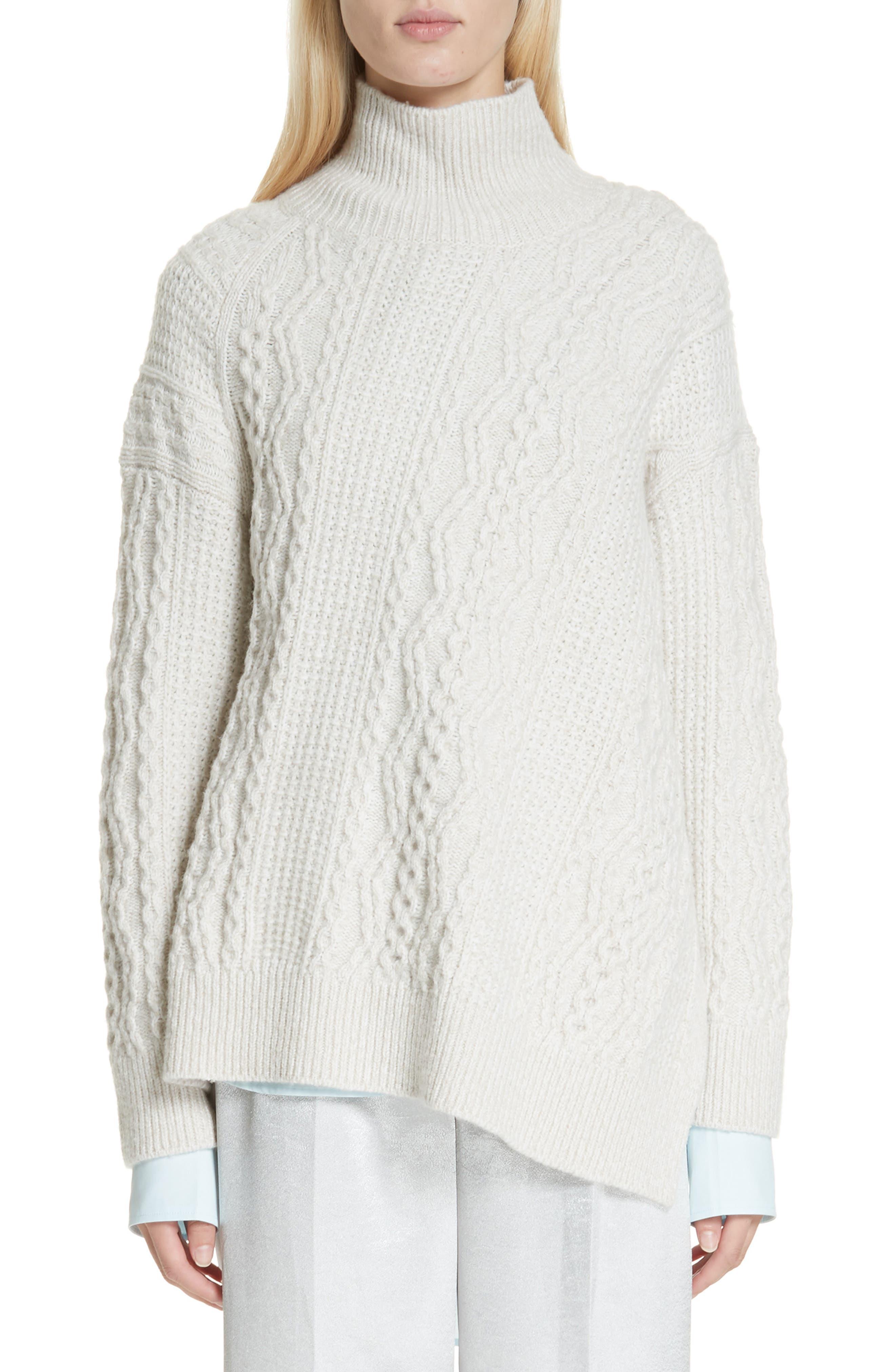 Vince Diagonal Cable Wool Blend Turtleneck Sweater