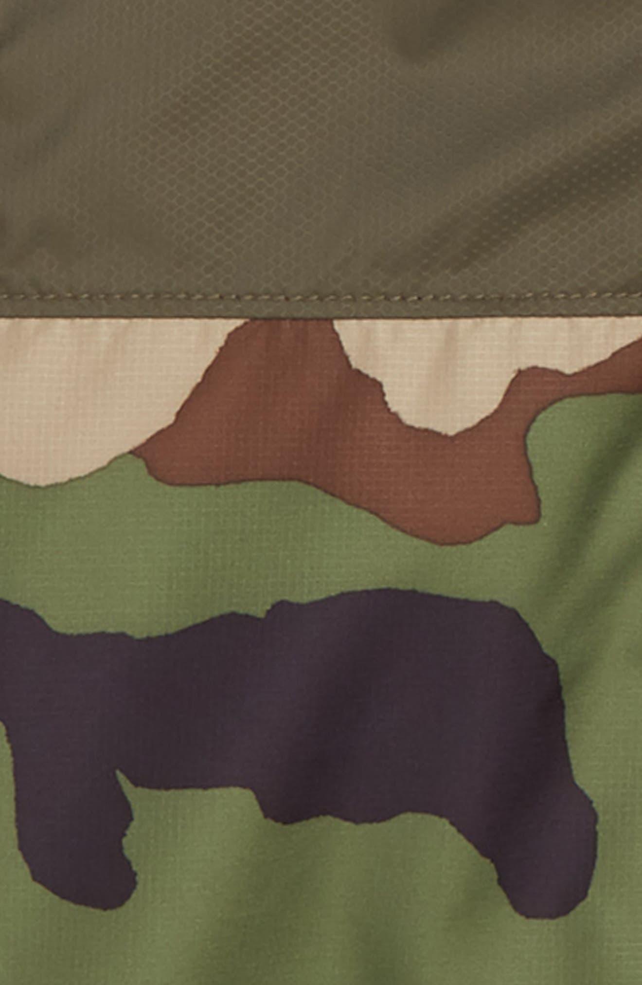 THE NORTH FACE, Flurry Hooded Windbreaker Jacket, Alternate thumbnail 2, color, TERRARIUM GREEN WOODLAND CAMO