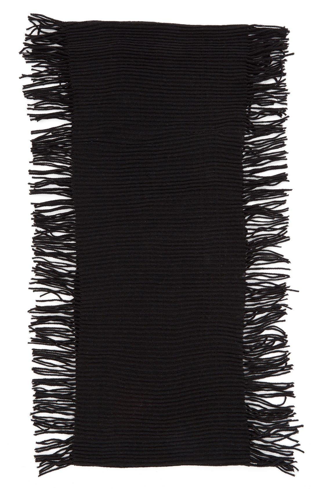 BP., Rib Knit Fringe Infinity Scarf, Alternate thumbnail 3, color, 001