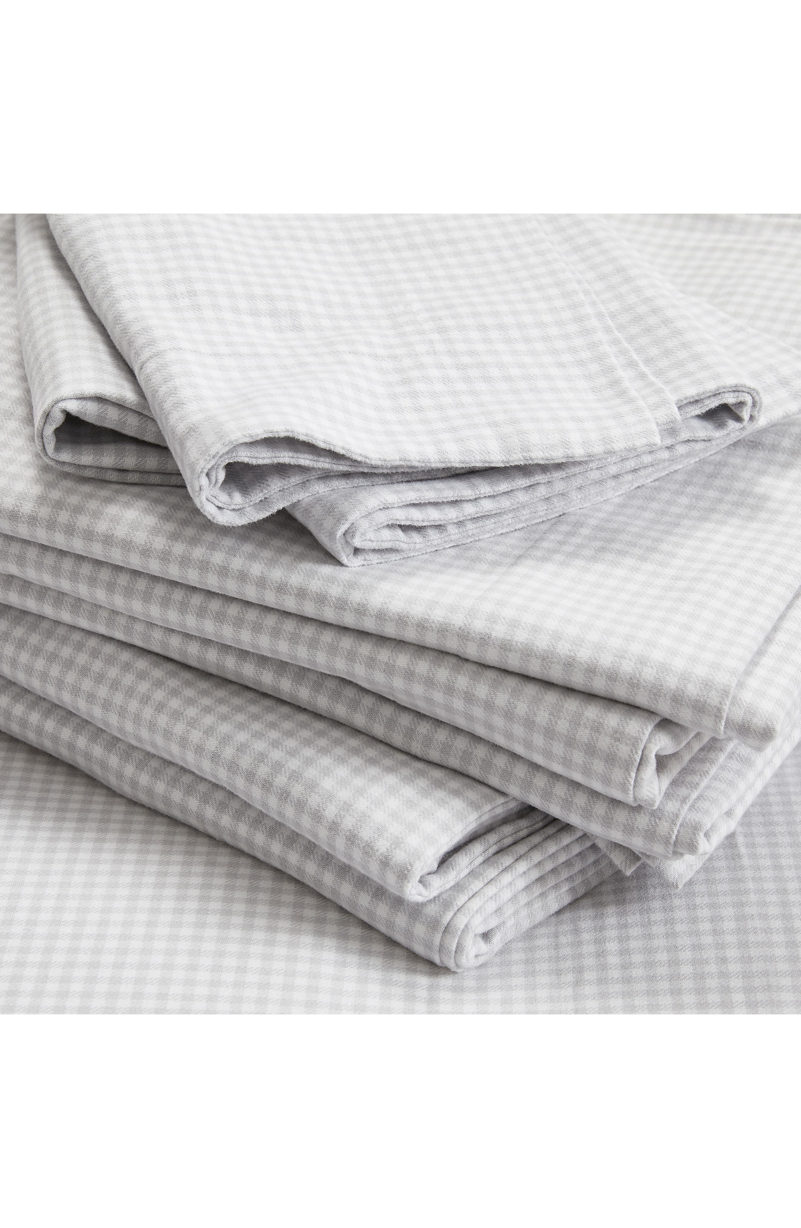 THE WHITE COMPANY Harrington Flannel Flat Sheet, Main, color, SOFT GREY