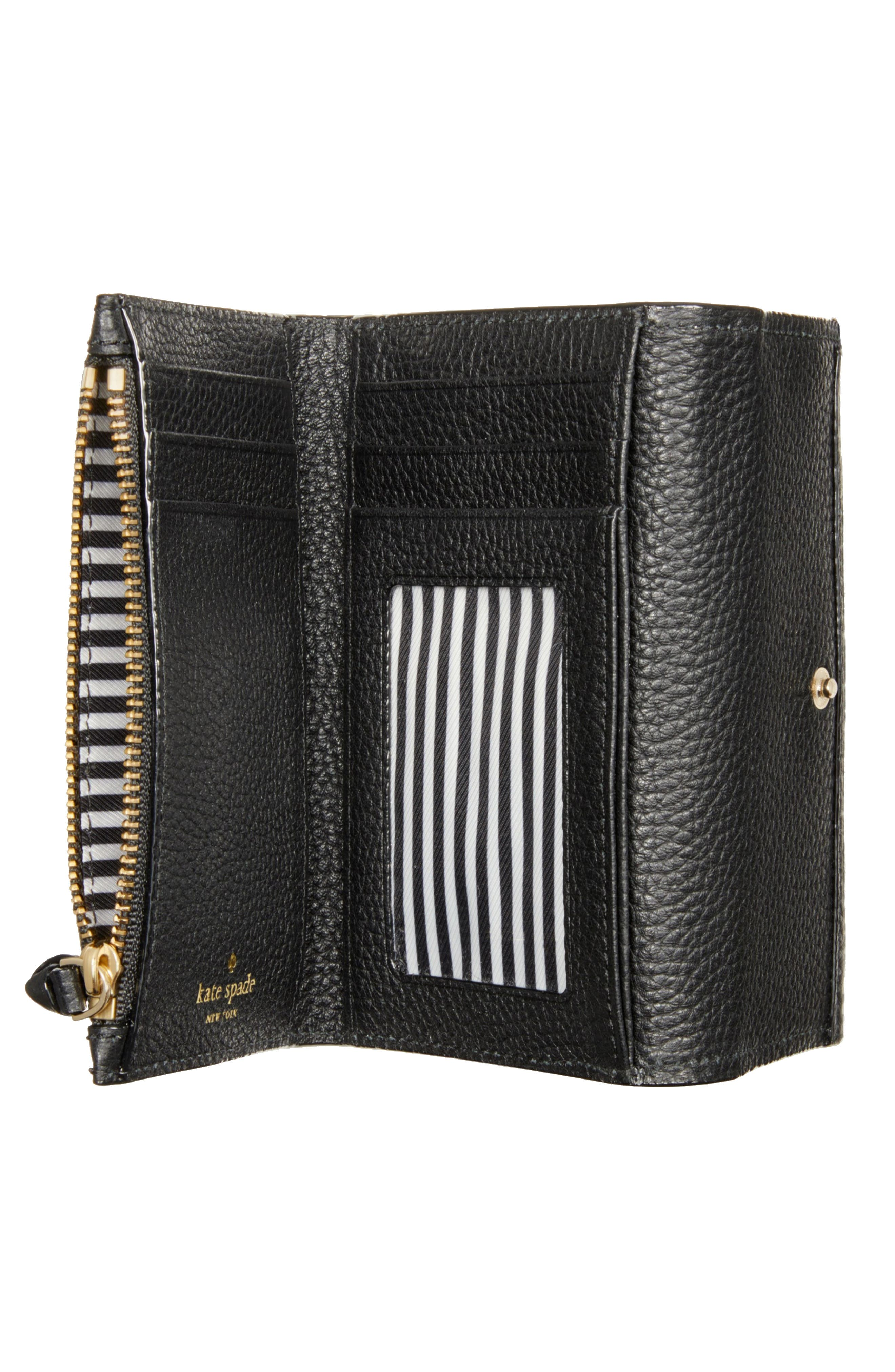 KATE SPADE NEW YORK, jackson street – meredith leather wallet, Alternate thumbnail 2, color, 001