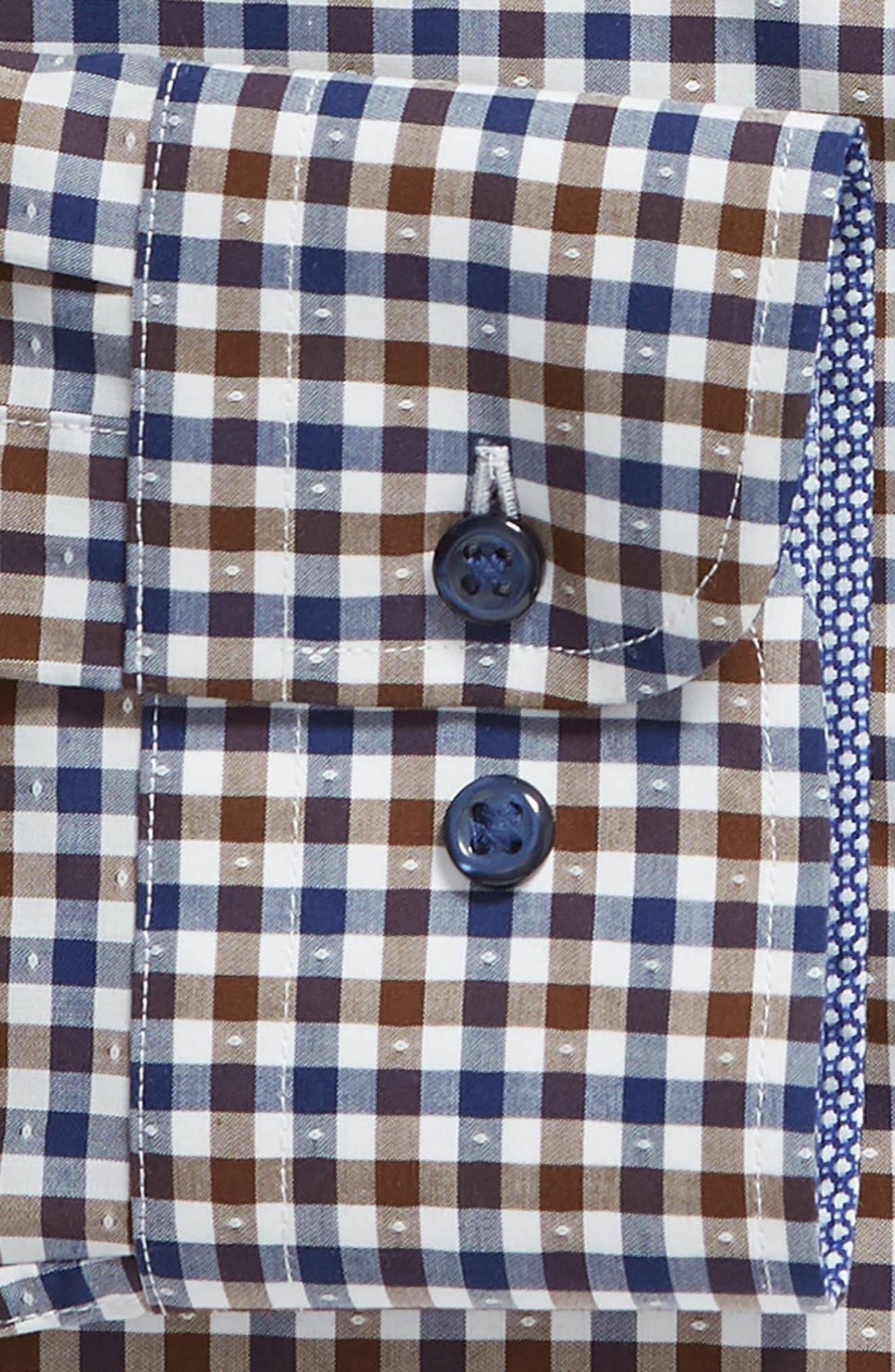 NORDSTROM MEN'S SHOP, Trim Fit Non-Iron Check Dress Shirt, Alternate thumbnail 6, color, BROWN FAWN