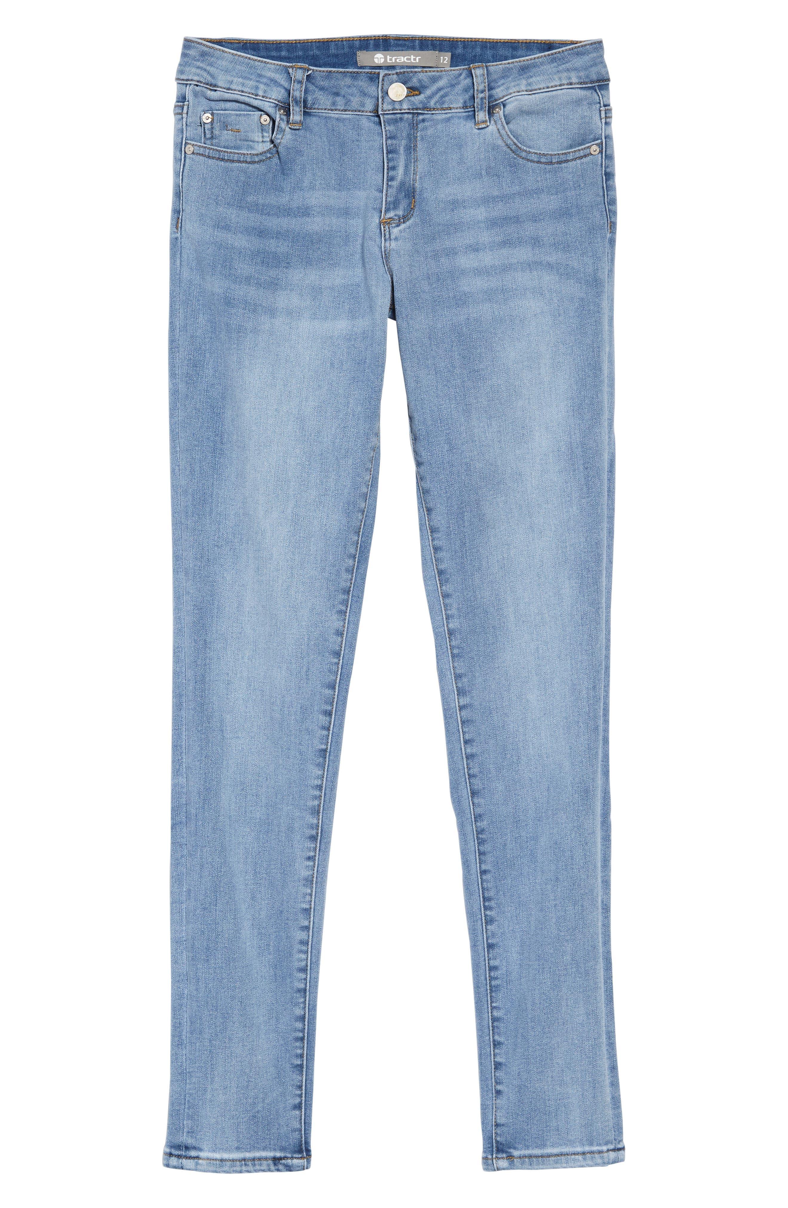 TRACTR Diane Skinny Jeans, Main, color, LIGHT INDIGO