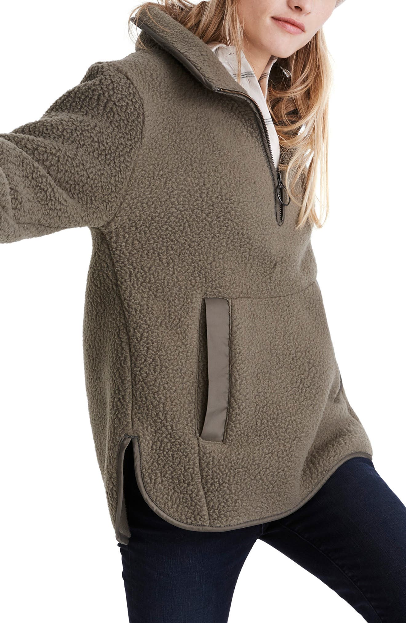 MADEWELL, Polartec<sup>®</sup> Fleece Popover Jacket, Alternate thumbnail 3, color, 300