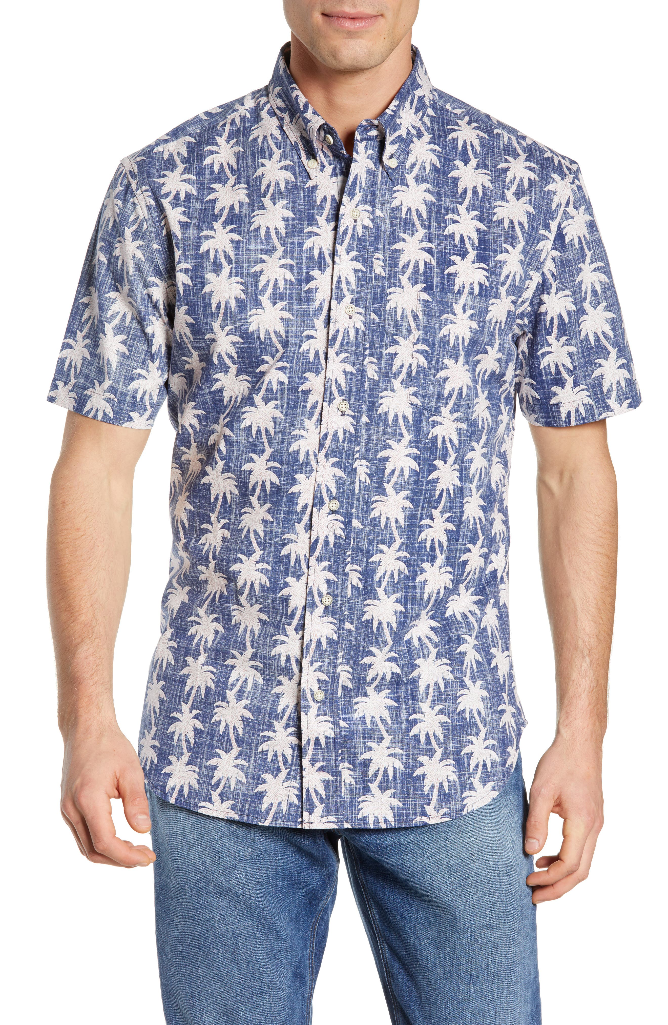 REYN SPOONER, My Maui Palm Tailored Fit Sport Shirt, Main thumbnail 1, color, MEDIEVAL BLUE