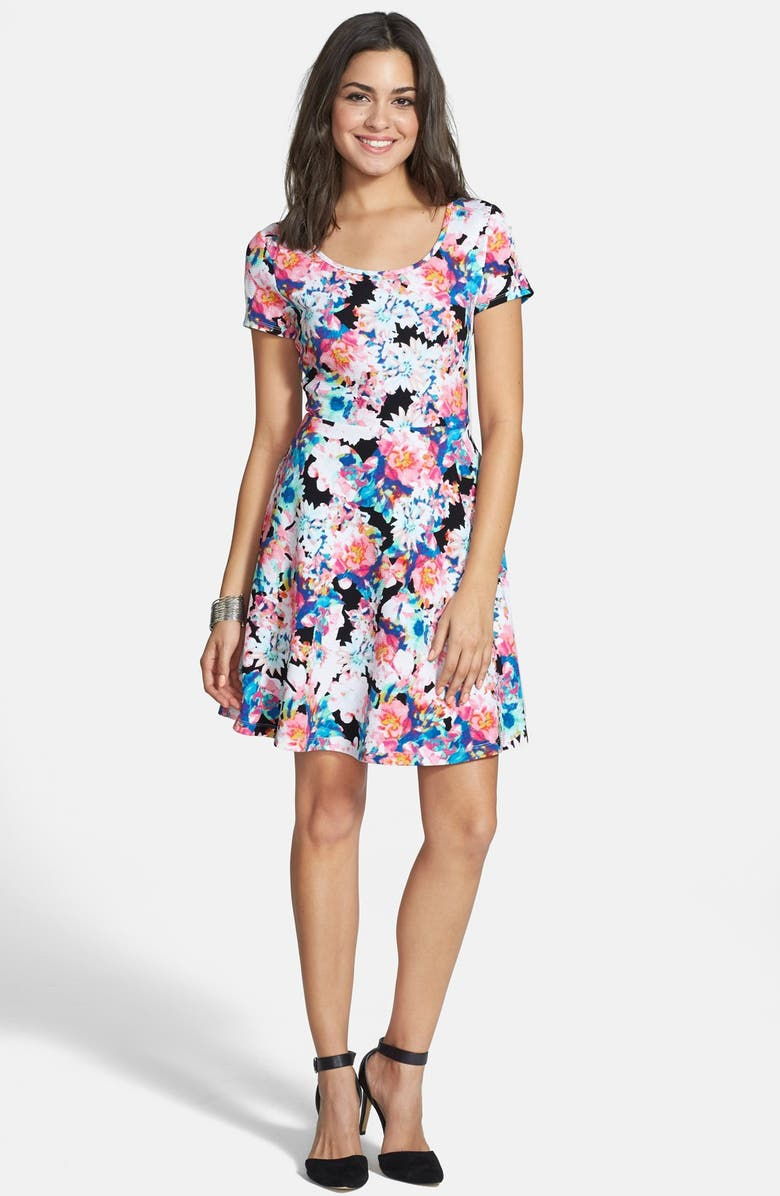 5dfa493363fca Frenchi® Floral Print Skater Dress (Juniors) | Nordstrom