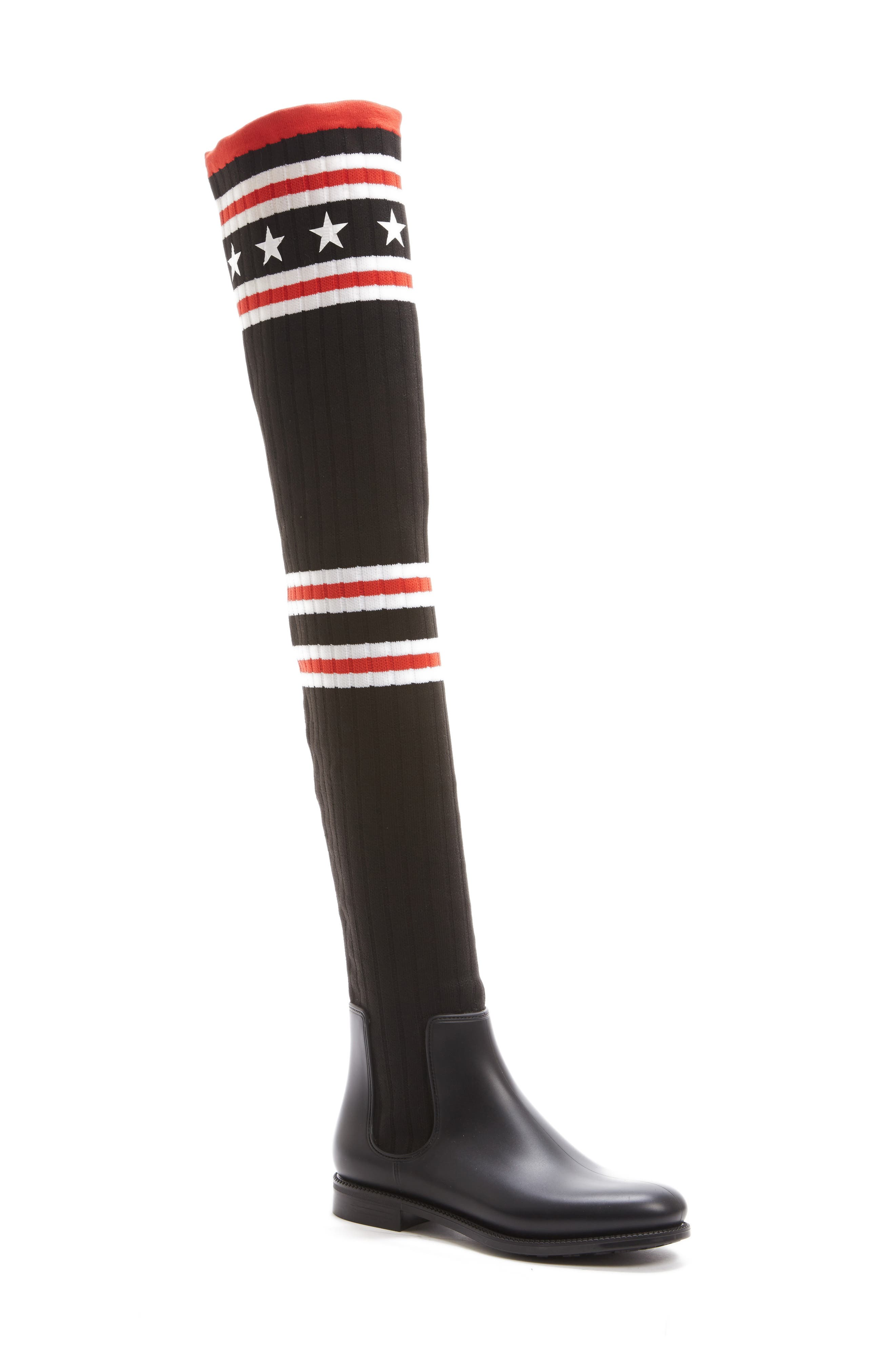 GIVENCHY Storm Over the Knee Sock Boot, Main, color, BLACK/ RED