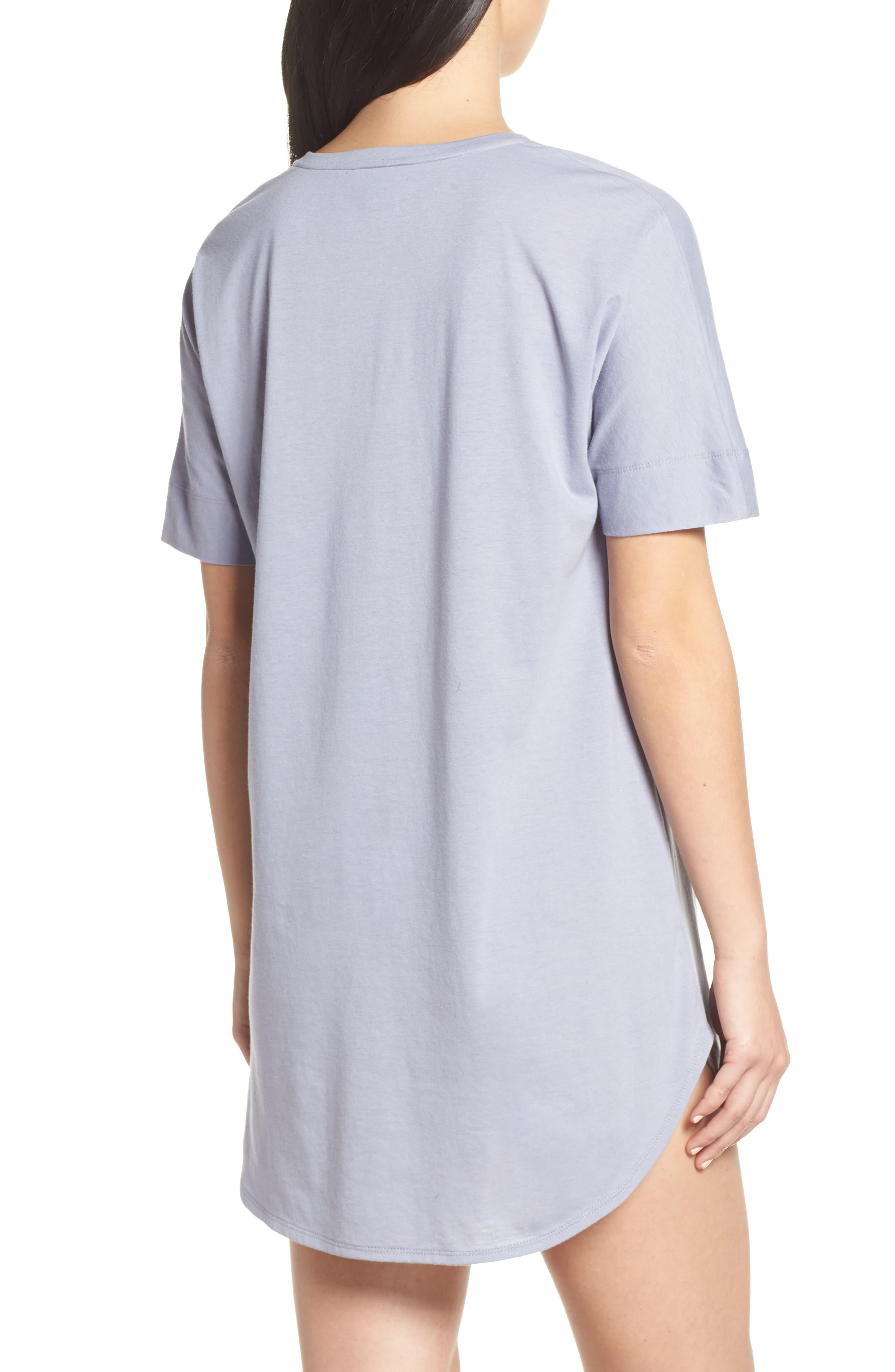 NATORI, V-Neck Sleep Shirt, Alternate thumbnail 2, color, SLATE BLUE
