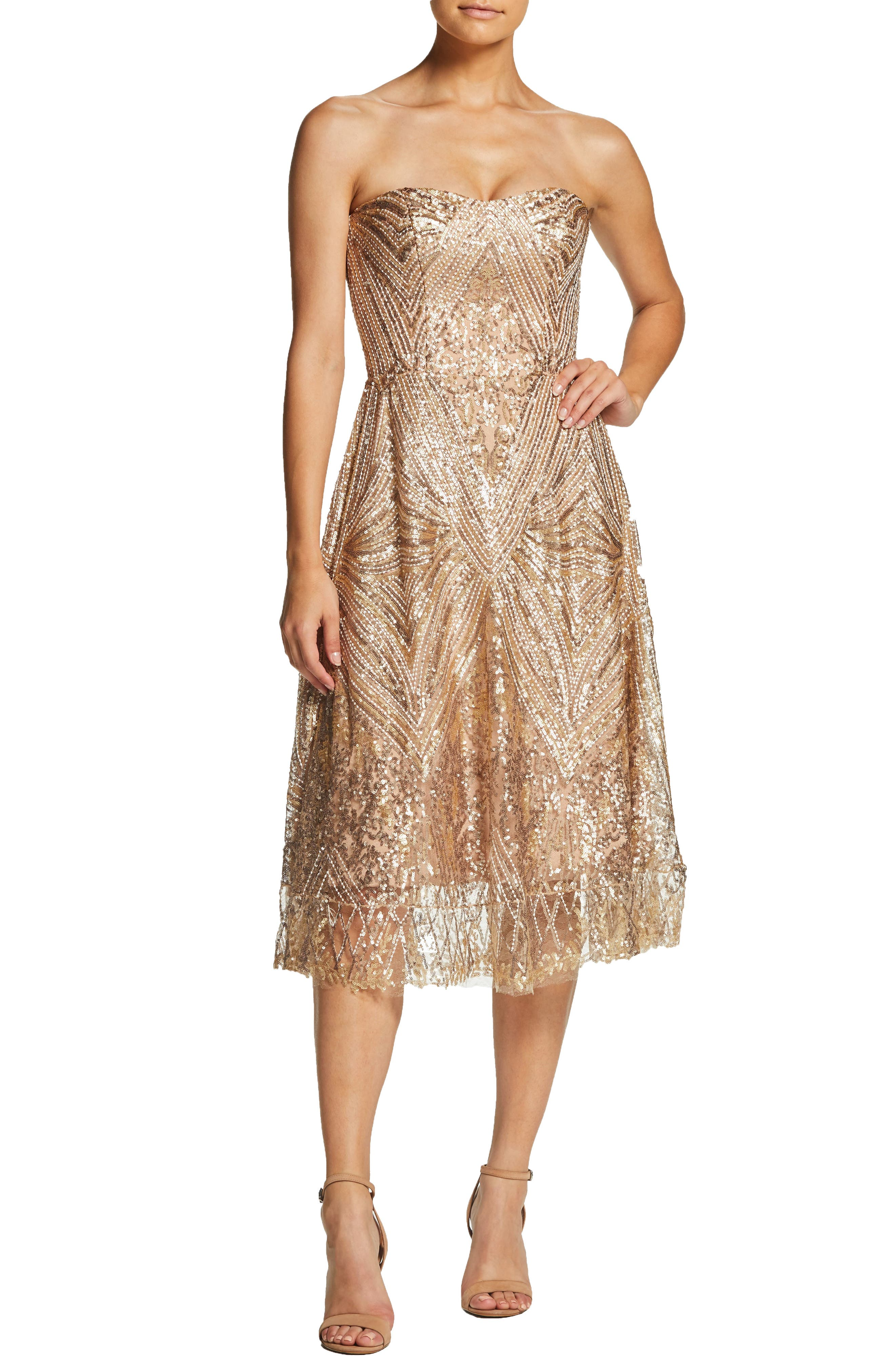 DRESS THE POPULATION, Sarah Sequin Strapless Fit & Flare Dress, Main thumbnail 1, color, GOLD/ BRASS