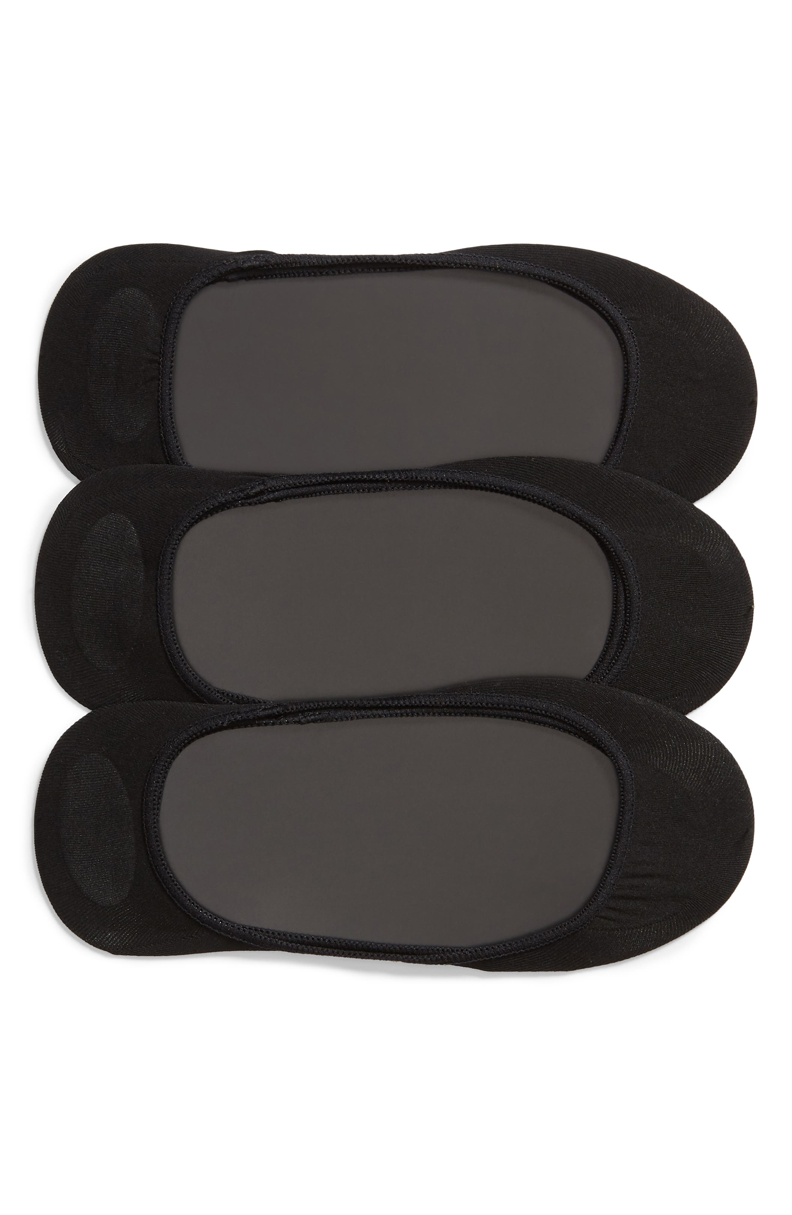 HUE, 3-Pack Shade Match Sock Liners, Main thumbnail 1, color, BLACK