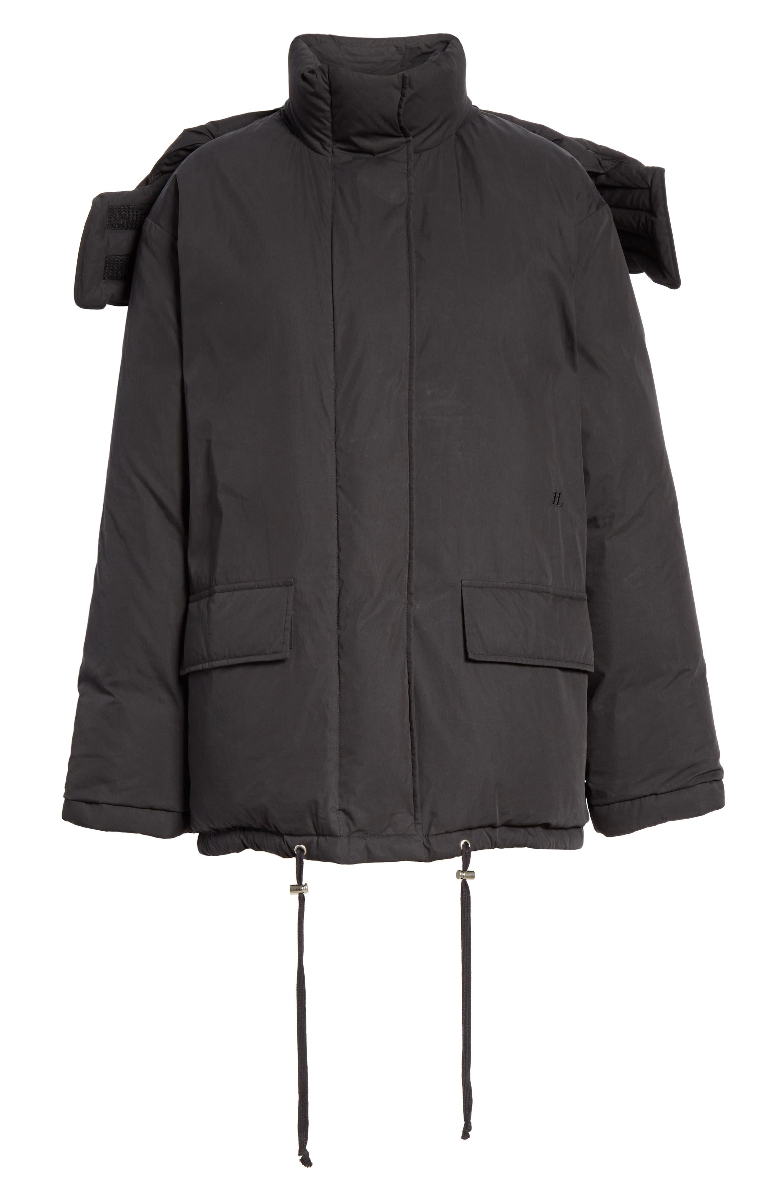 HELMUT LANG, Removable Hood Puffer Jacket, Alternate thumbnail 7, color, 001