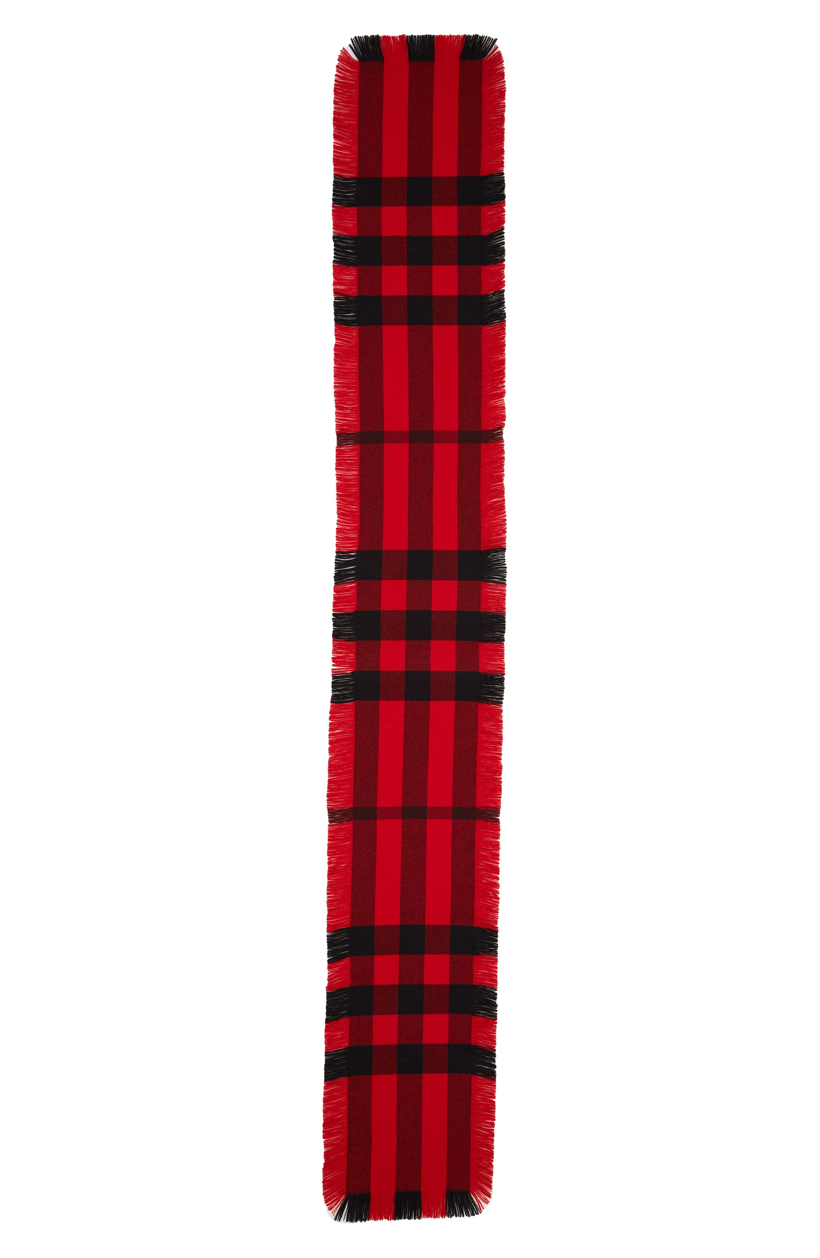 BURBERRY Mega Fashion Fringe Wool Scarf, Main, color, MILITARY RED
