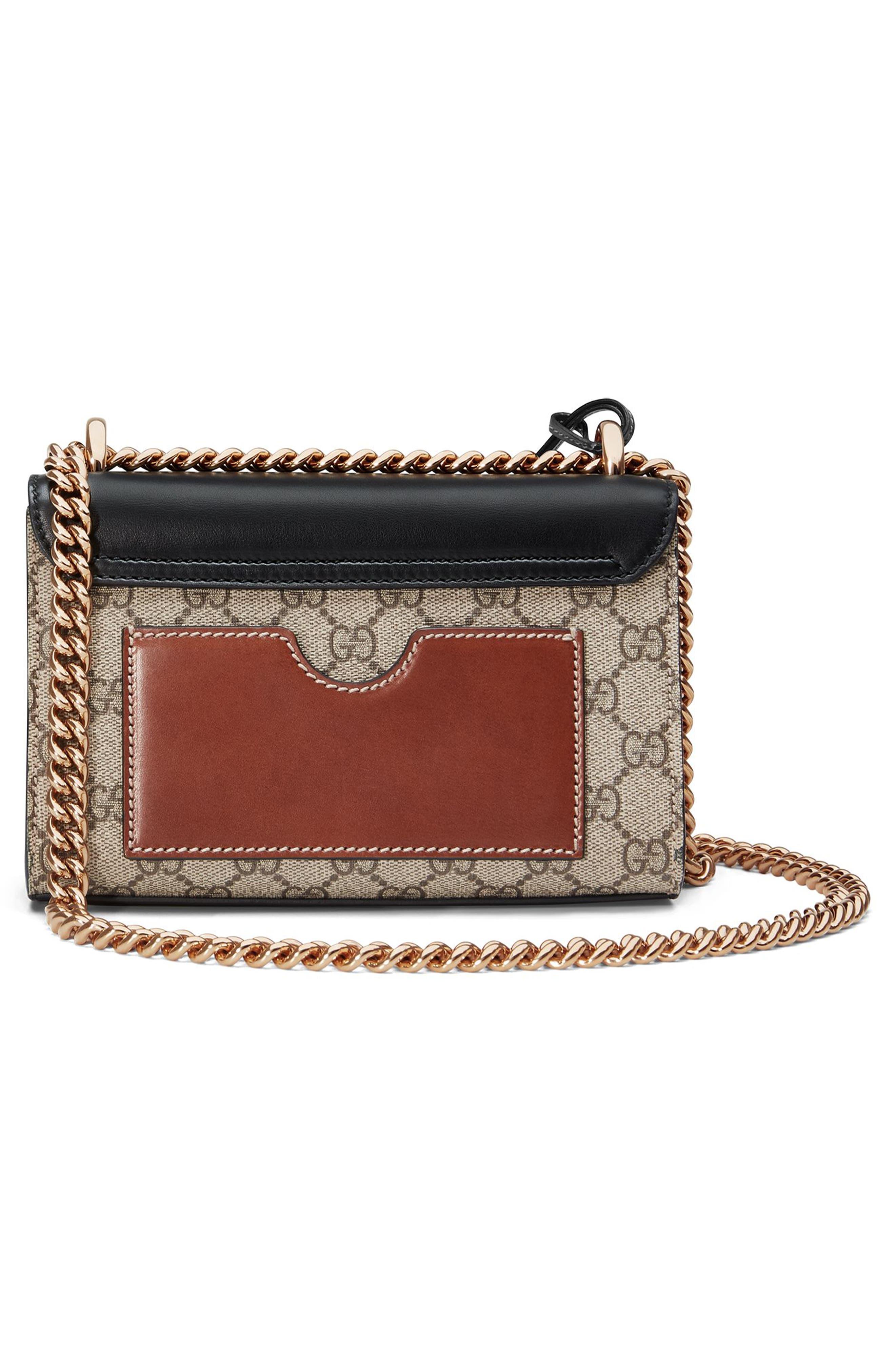 GUCCI, Small Padlock GG Supreme Canvas & Leather Shoulder Bag, Alternate thumbnail 2, color, MOON/TOSCANO