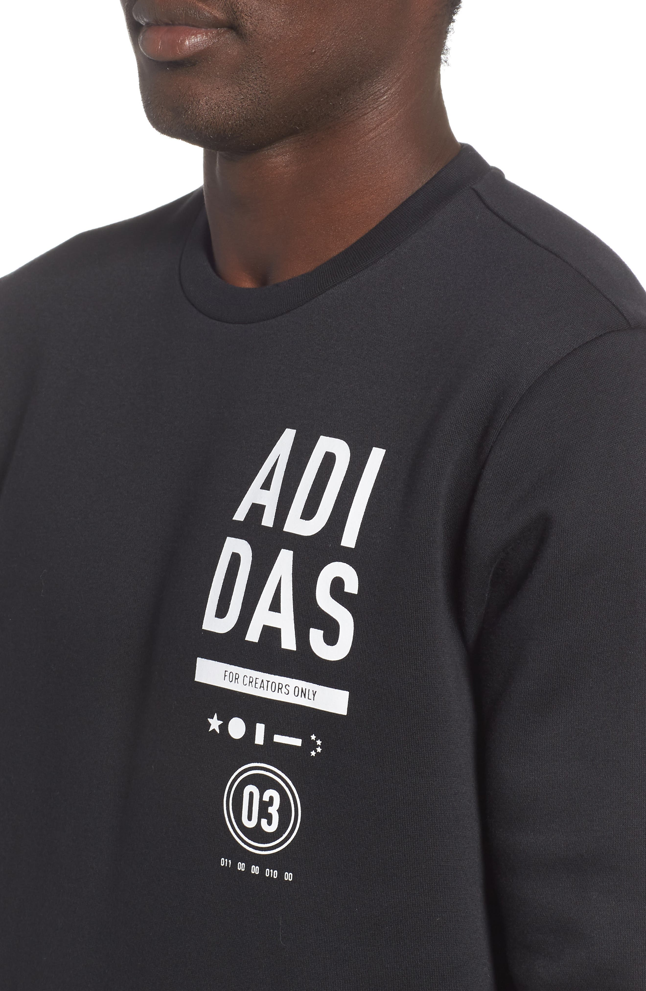 ADIDAS, International Regular Fit Sweatshirt, Alternate thumbnail 4, color, BLACK