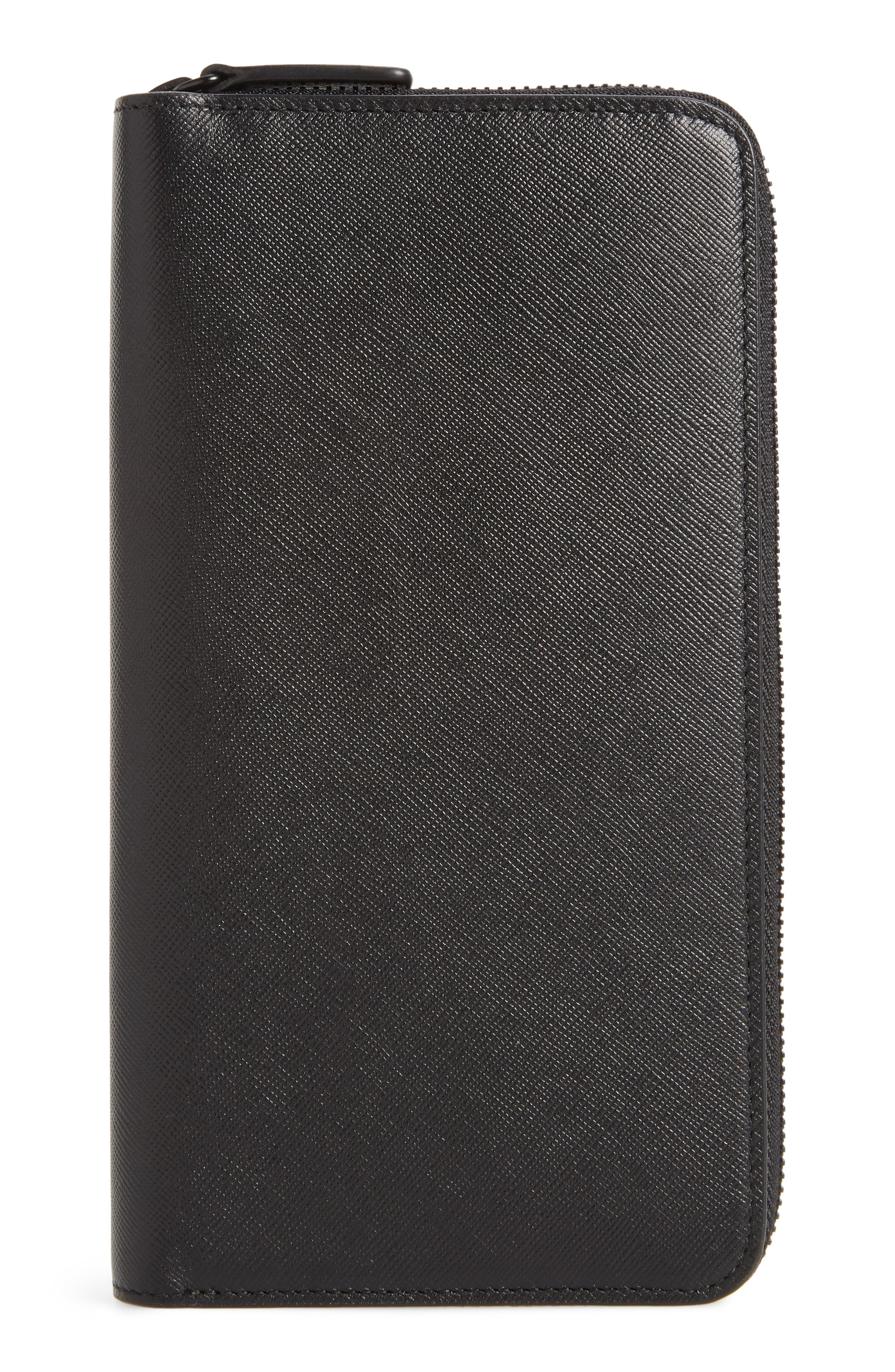 COMMON PROJECTS, Continental Saffiano Leather Zip Wallet, Alternate thumbnail 3, color, BLACK