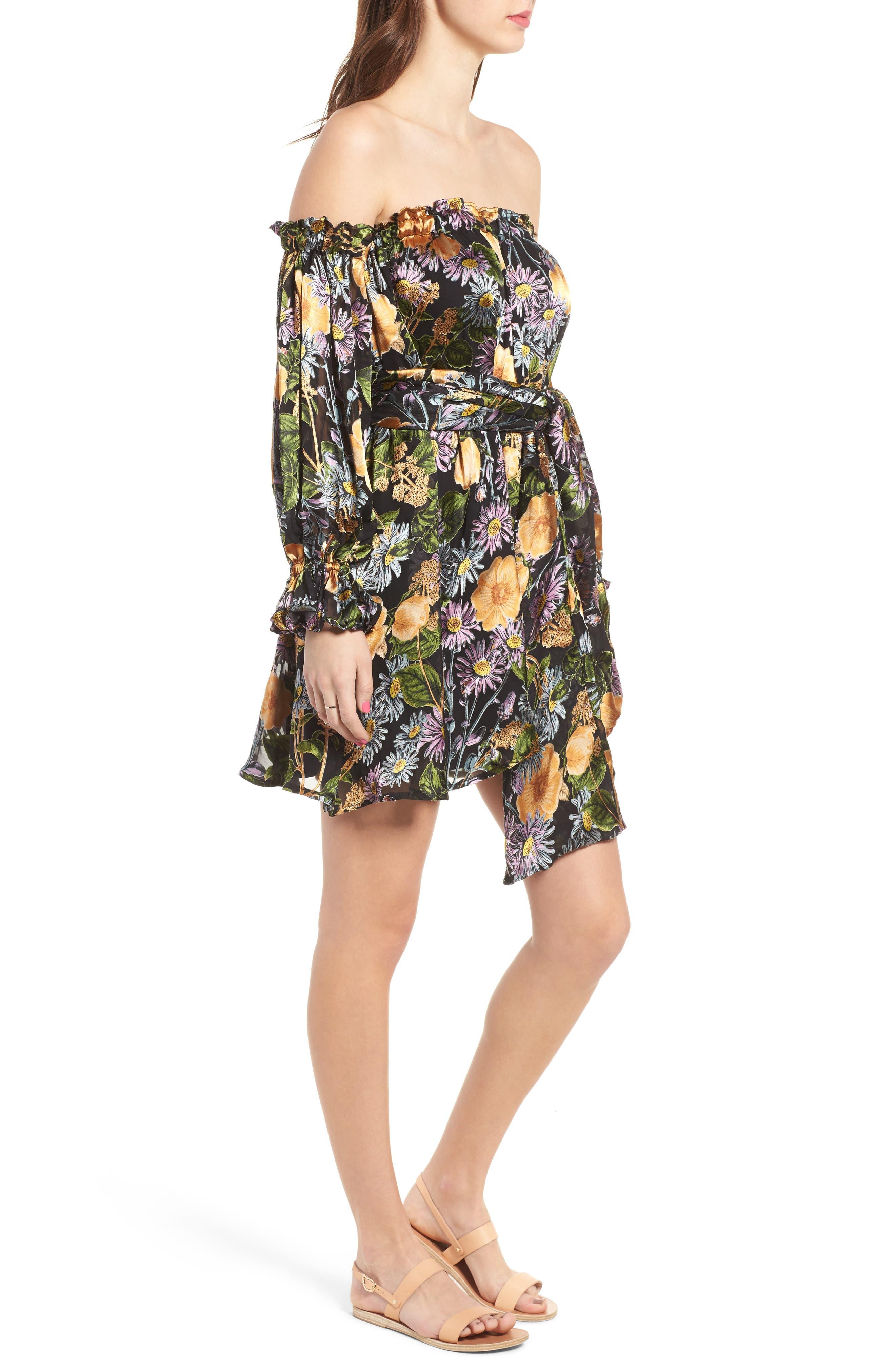 FOR LOVE & LEMONS, Luciana Strapless Fit & Flare Dress, Alternate thumbnail 3, color, 010