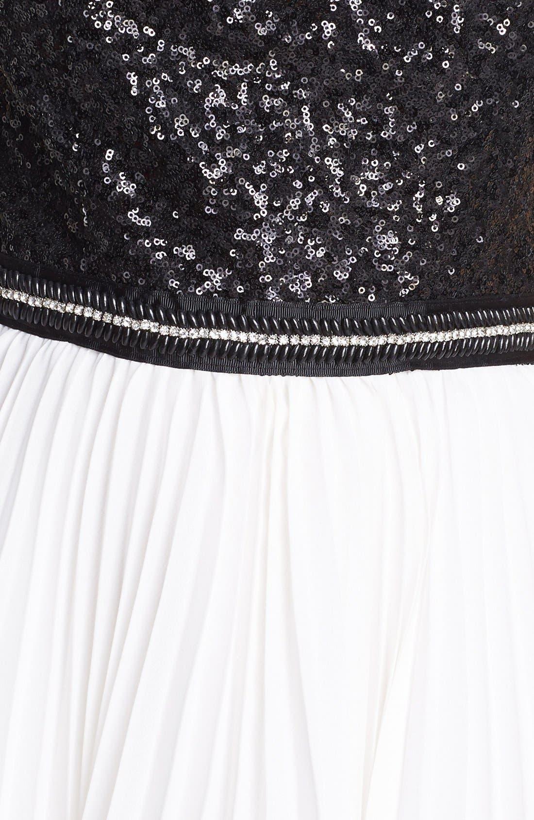 TRIXXI, Pleated Sequin Dress, Alternate thumbnail 4, color, 001
