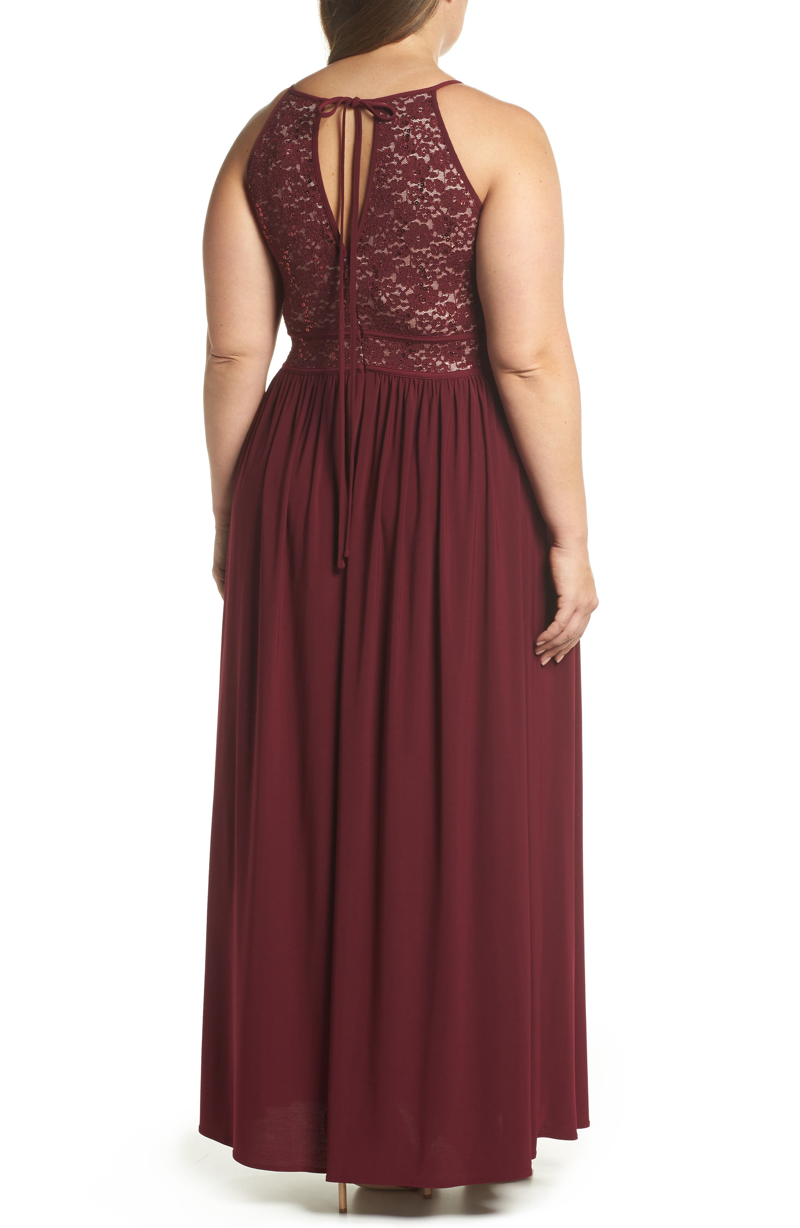 MORGAN & CO., Lace Pleated Gown, Alternate thumbnail 2, color, MERLOT