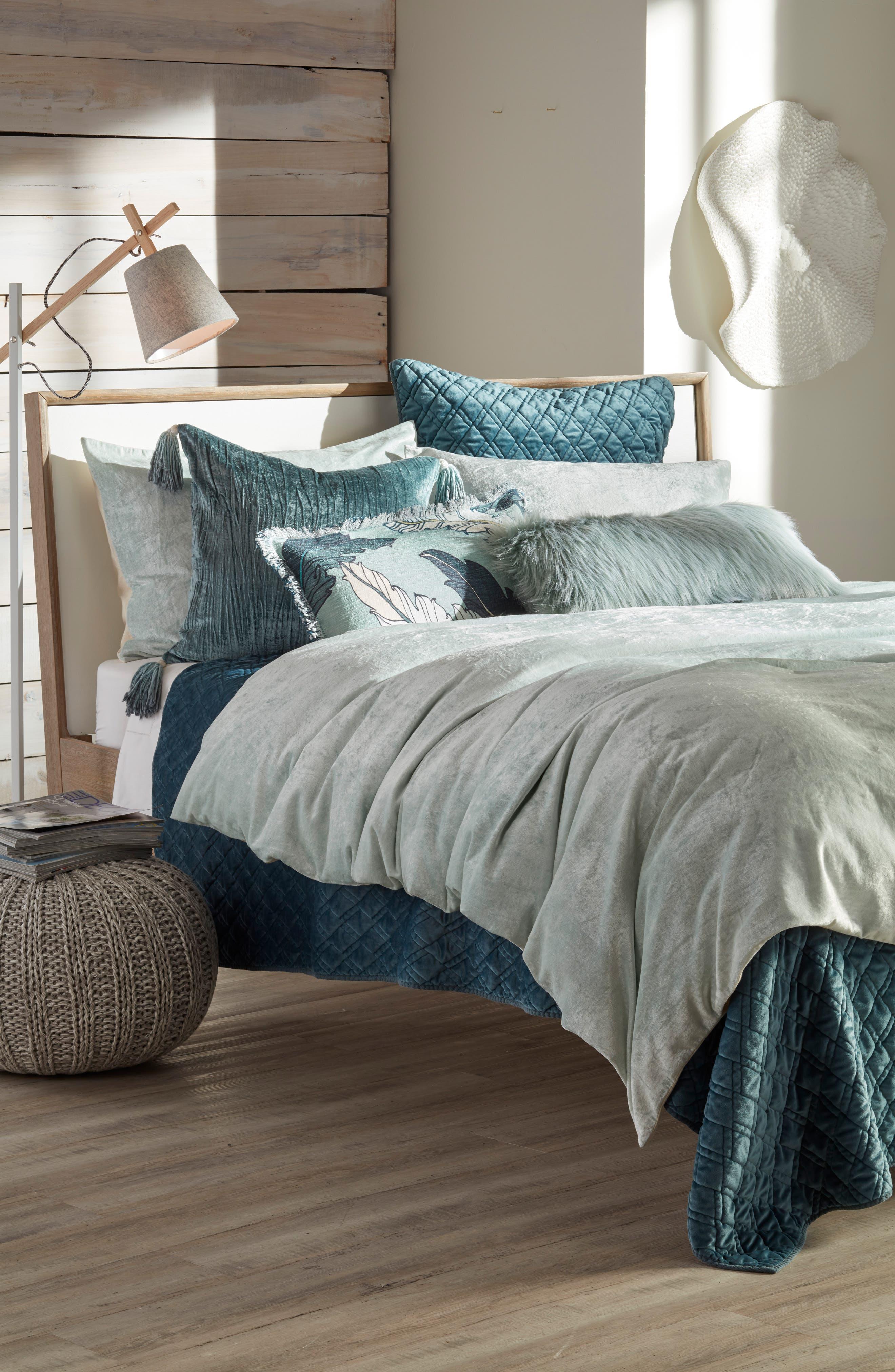 NORDSTROM AT HOME Shimmer Velvet Duvet Cover, Main, color, TEAL STEAM