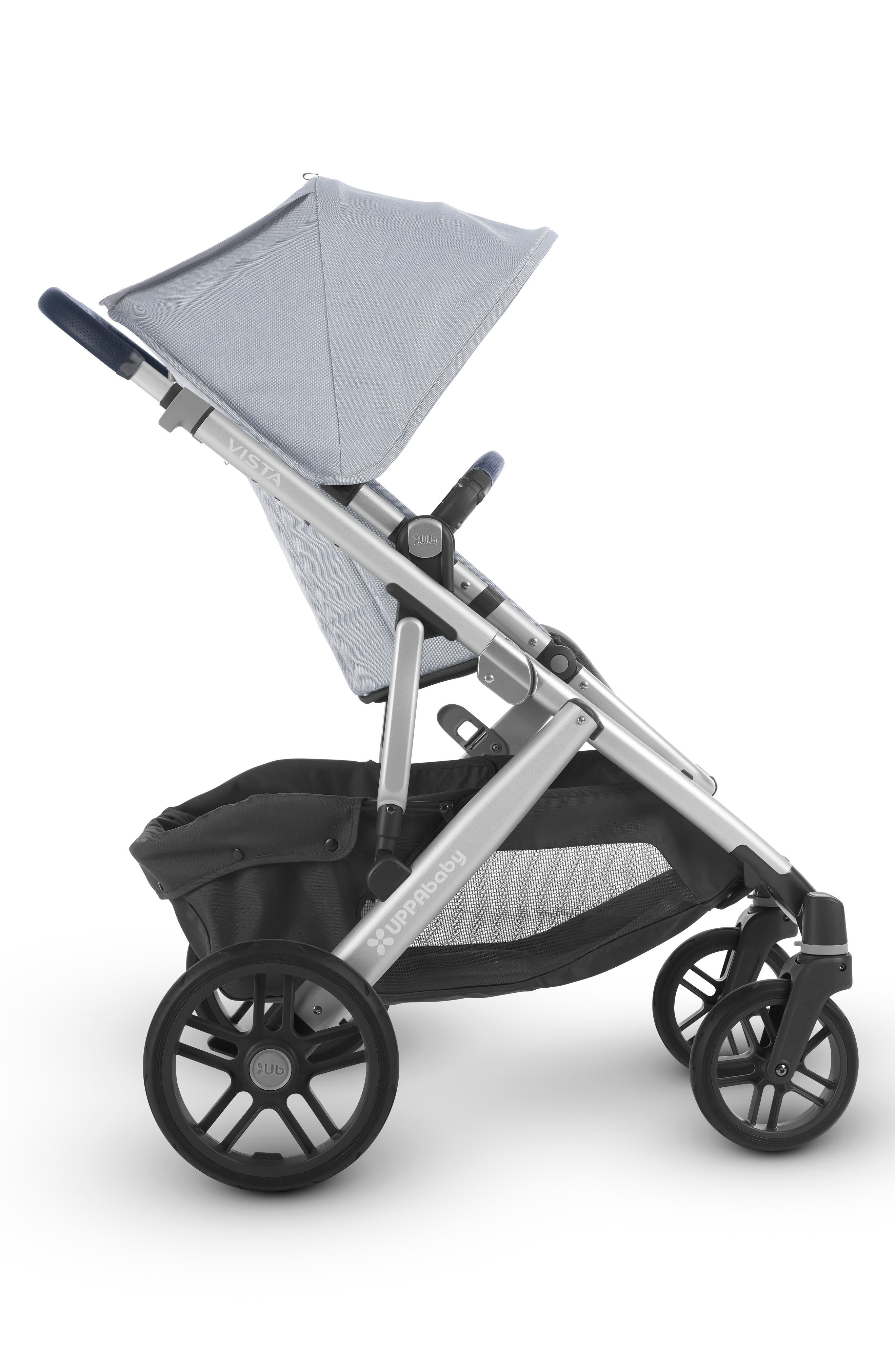 UPPABABY, VISTA Aluminum Frame Convertible Complete Stroller with Leather Trim, Alternate thumbnail 2, color, WILLIAM BLUE/ SILVER