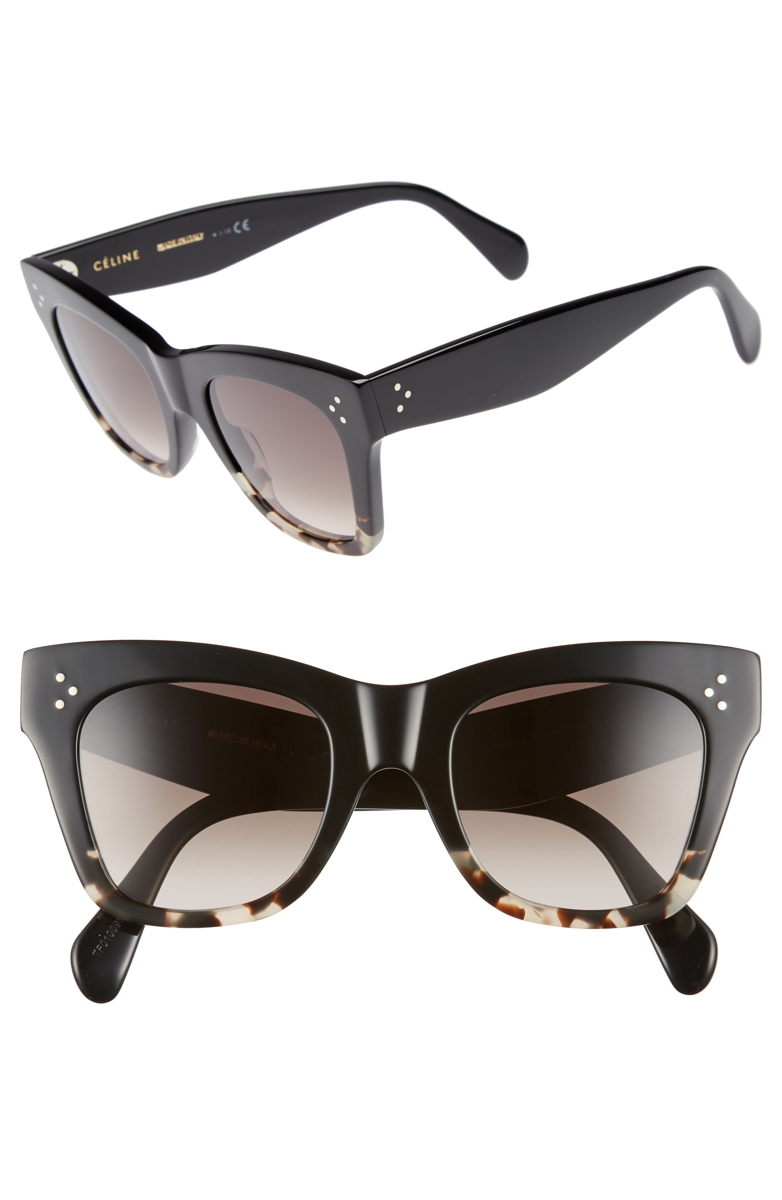 CELINE, 50mm Gradient Butterfly Sunglasses, Main thumbnail 1, color, BLACK/ GREY HAVANA/ BROWN