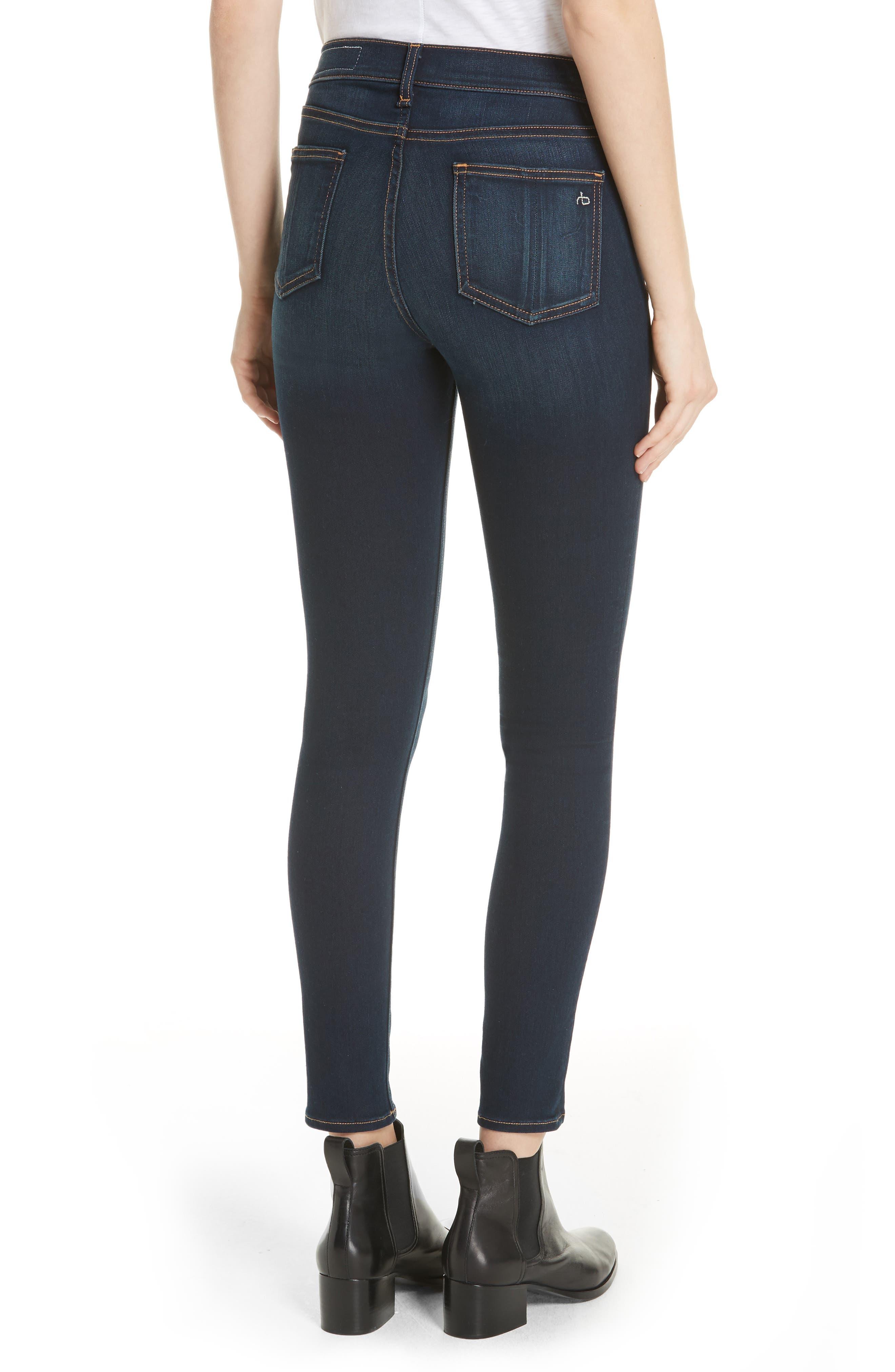 RAG & BONE, High Waist Ankle Skinny Jeans, Alternate thumbnail 2, color, BEDFORD