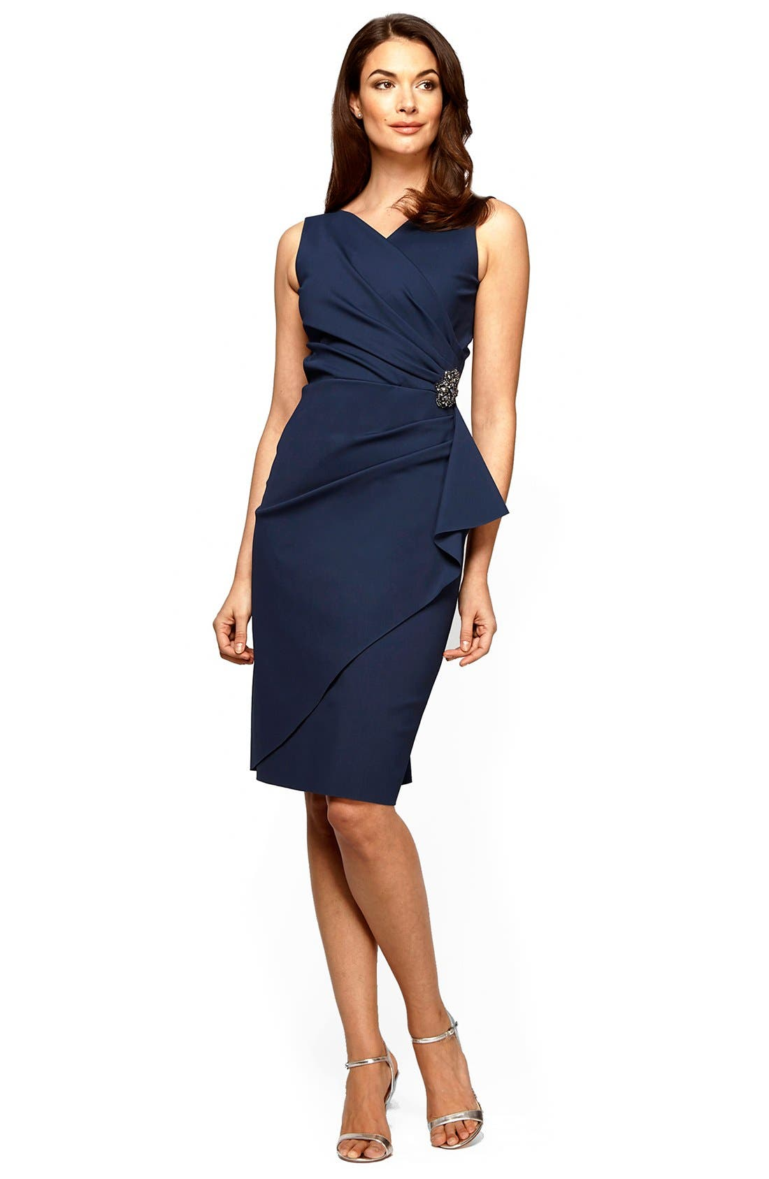 ALEX EVENINGS, Side Ruched Dress, Alternate thumbnail 2, color, NAVY