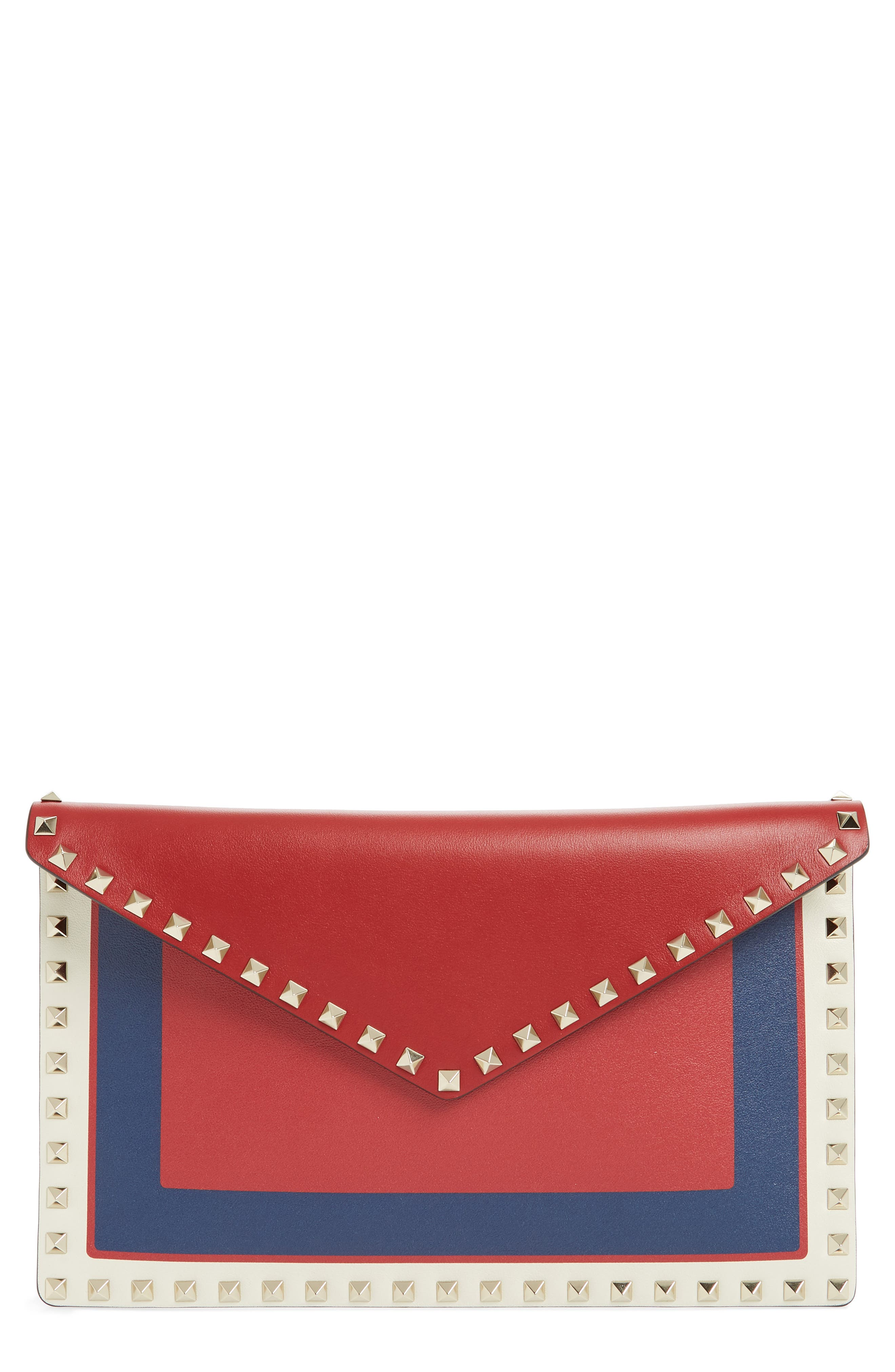 VALENTINO GARAVANI, Large Rockstud Calfskin Leather Envelope Pouch, Main thumbnail 1, color, PURE BLUE/ LIGHT IVORY/ ROSSO