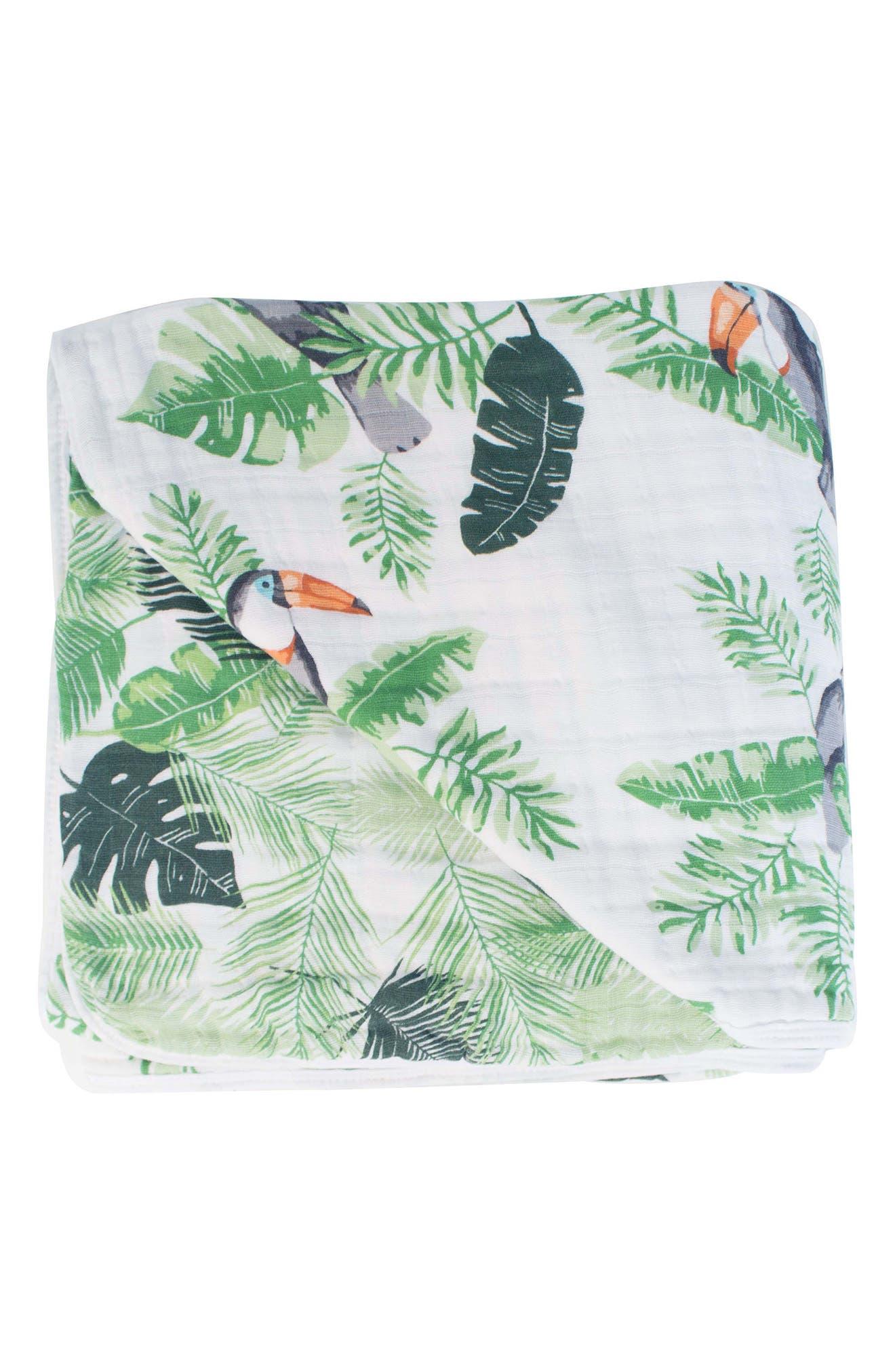 BÉBÉ AU LAIT, Rio Palms Muslin Snuggle Blanket, Main thumbnail 1, color, RIO & PALMS