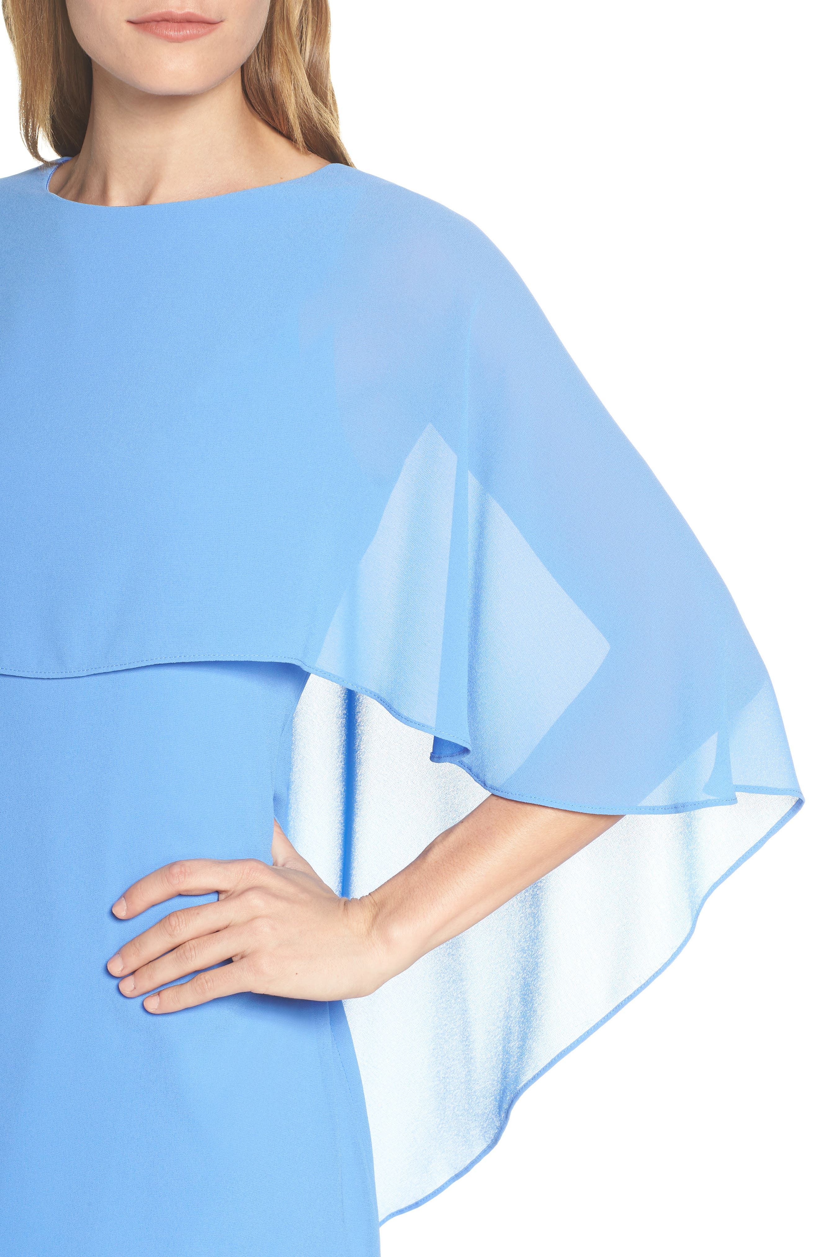 VINCE CAMUTO, Cape Overlay Dress, Alternate thumbnail 5, color, PERIWINKLE
