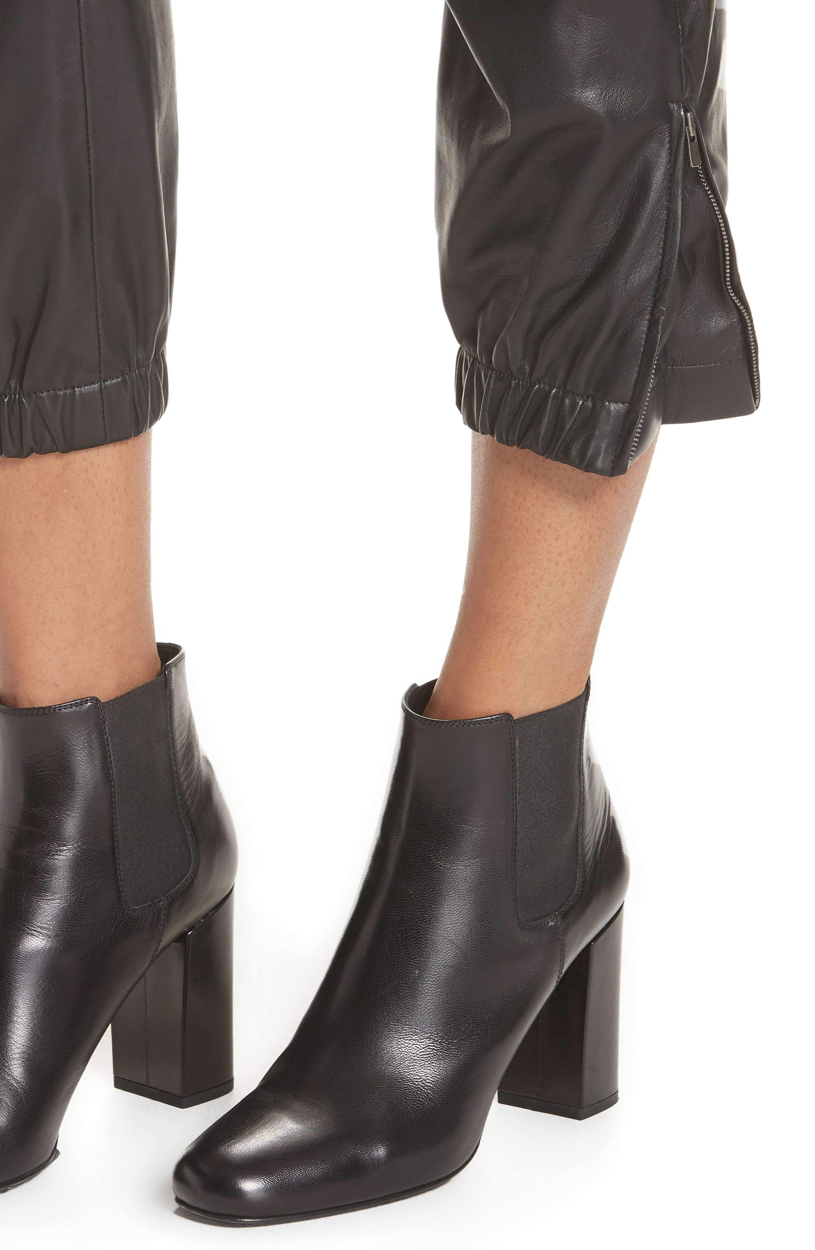 NILI LOTAN, French Military Leather Crop Pants, Alternate thumbnail 4, color, BLACK