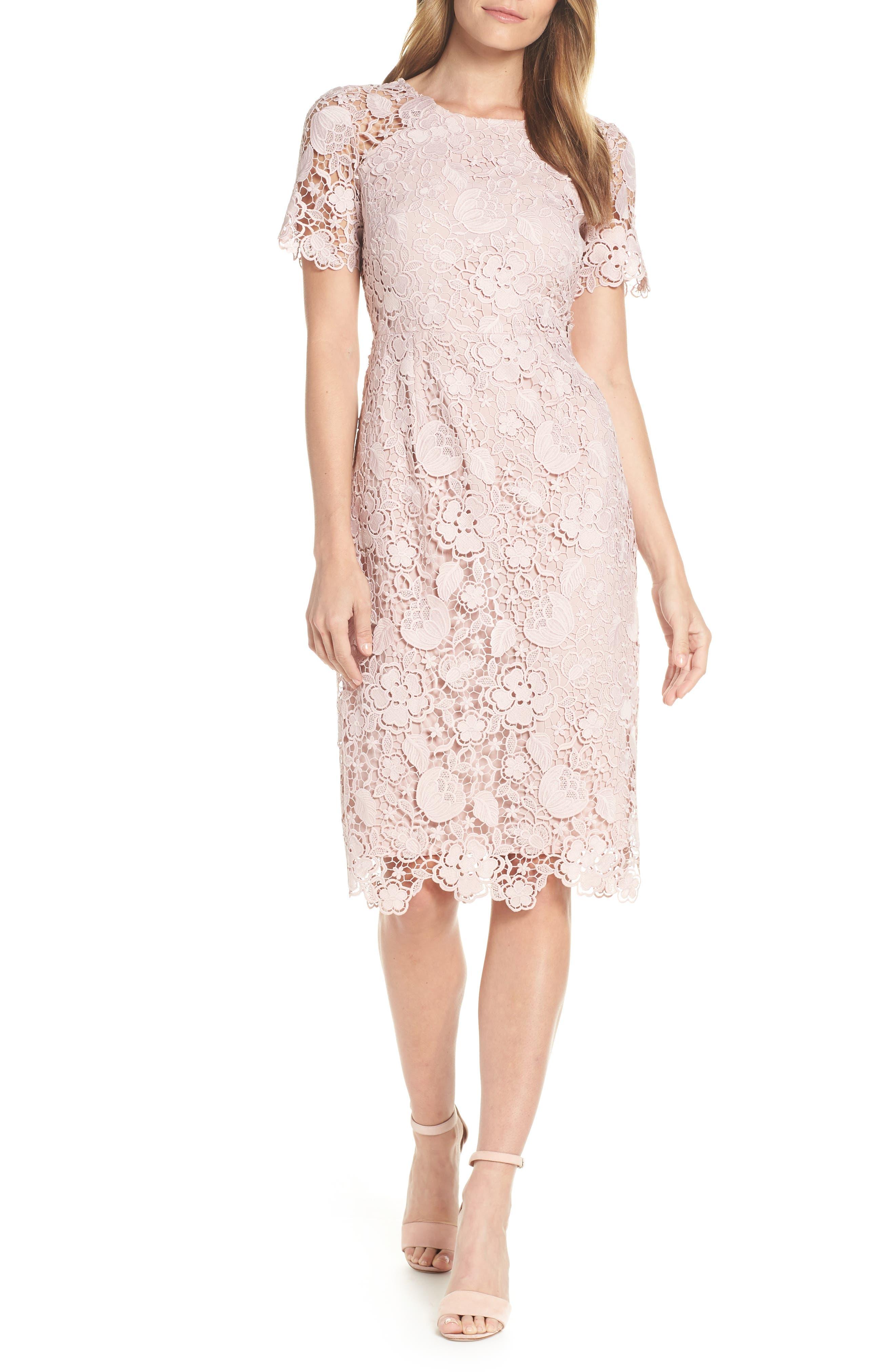 ELIZA J, Embroidered Lace Sheath Dress, Main thumbnail 1, color, NUDE