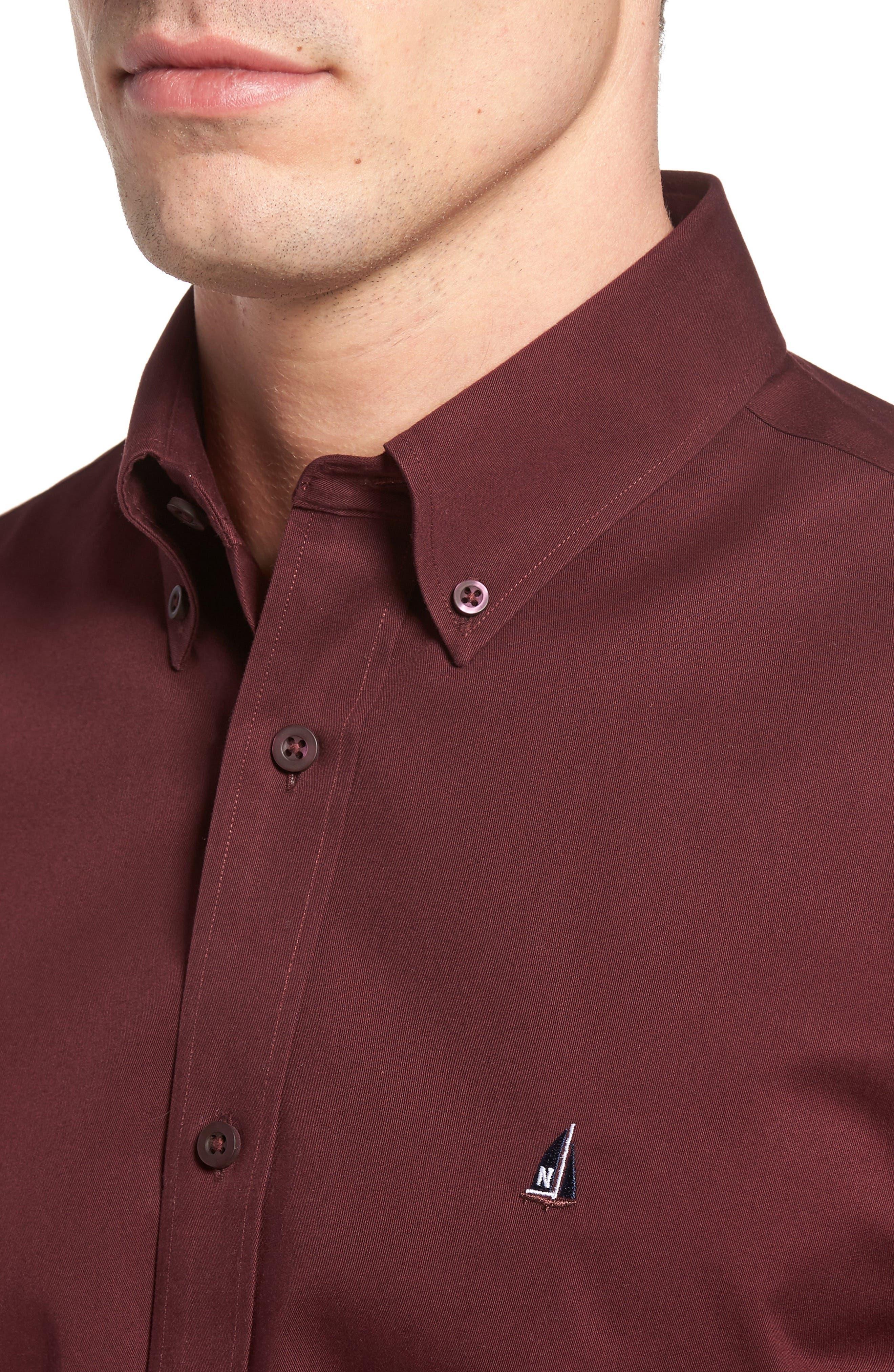 NORDSTROM MEN'S SHOP, Smartcare<sup>™</sup> Traditional Fit Twill Boat Shirt, Alternate thumbnail 4, color, BURGUNDY ROYALE