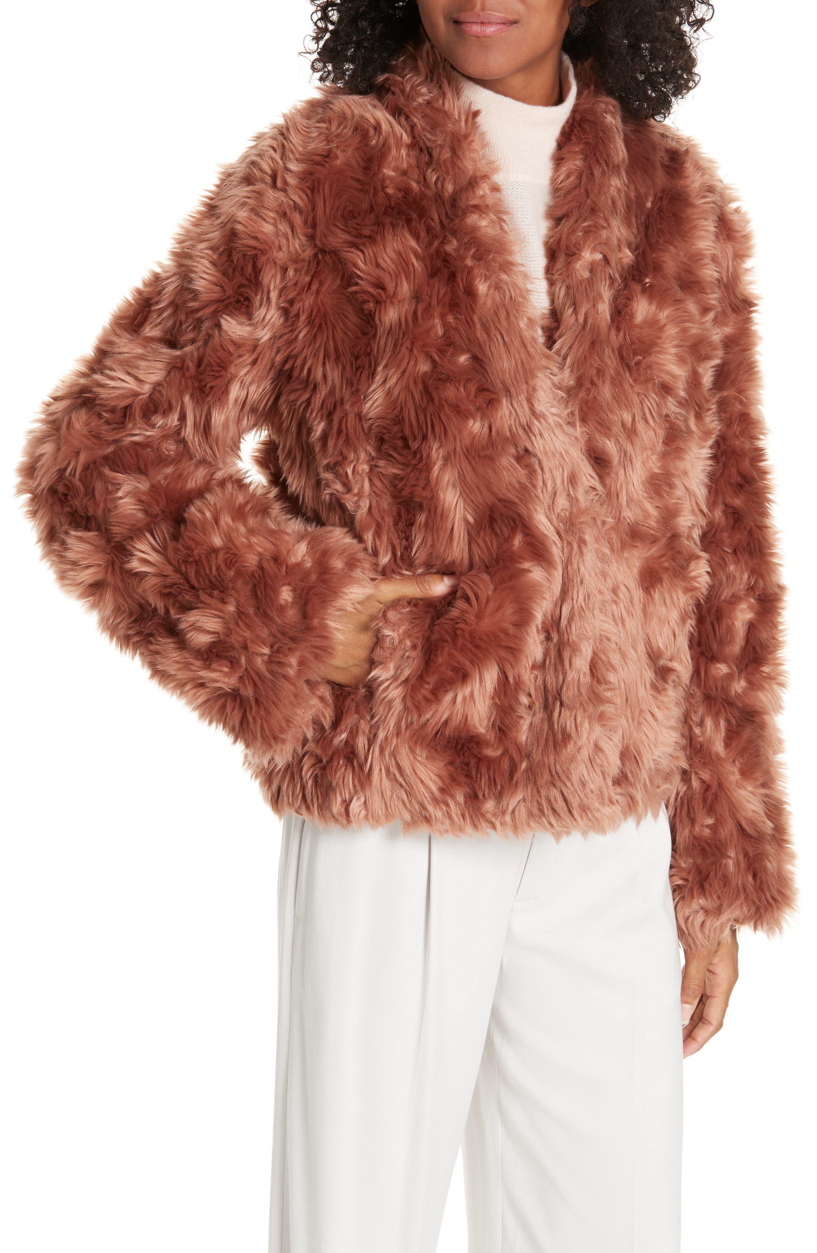 VINCE, Plush Faux Fur Jacket, Alternate thumbnail 5, color, PINK UMBER