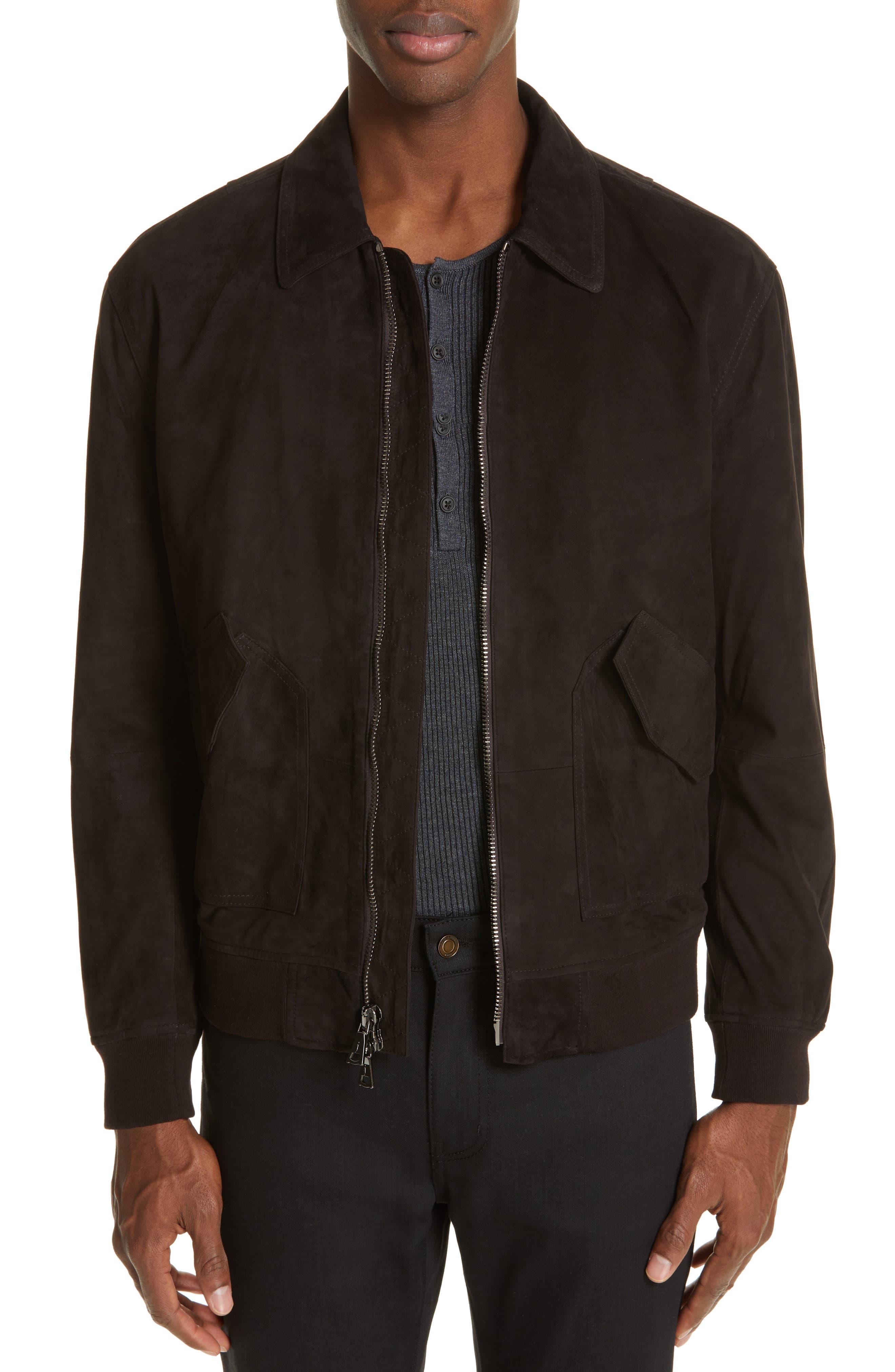 JOHN VARVATOS Suede Flight Jacket, Main, color, ESPRESSO