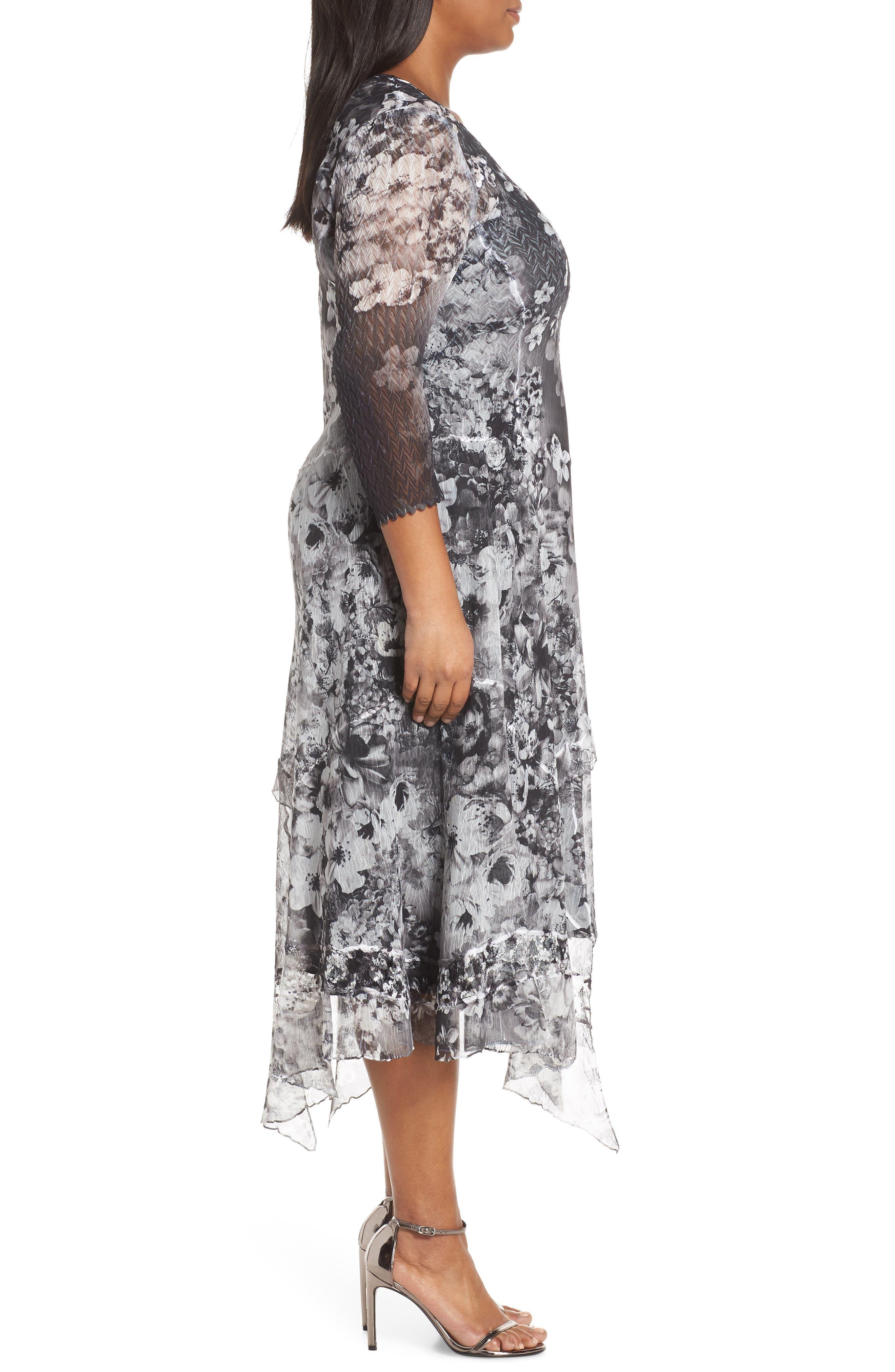 KOMAROV, Handkerchief Hem Cocktail Dress, Alternate thumbnail 4, color, MOONLIGHT BLOOM