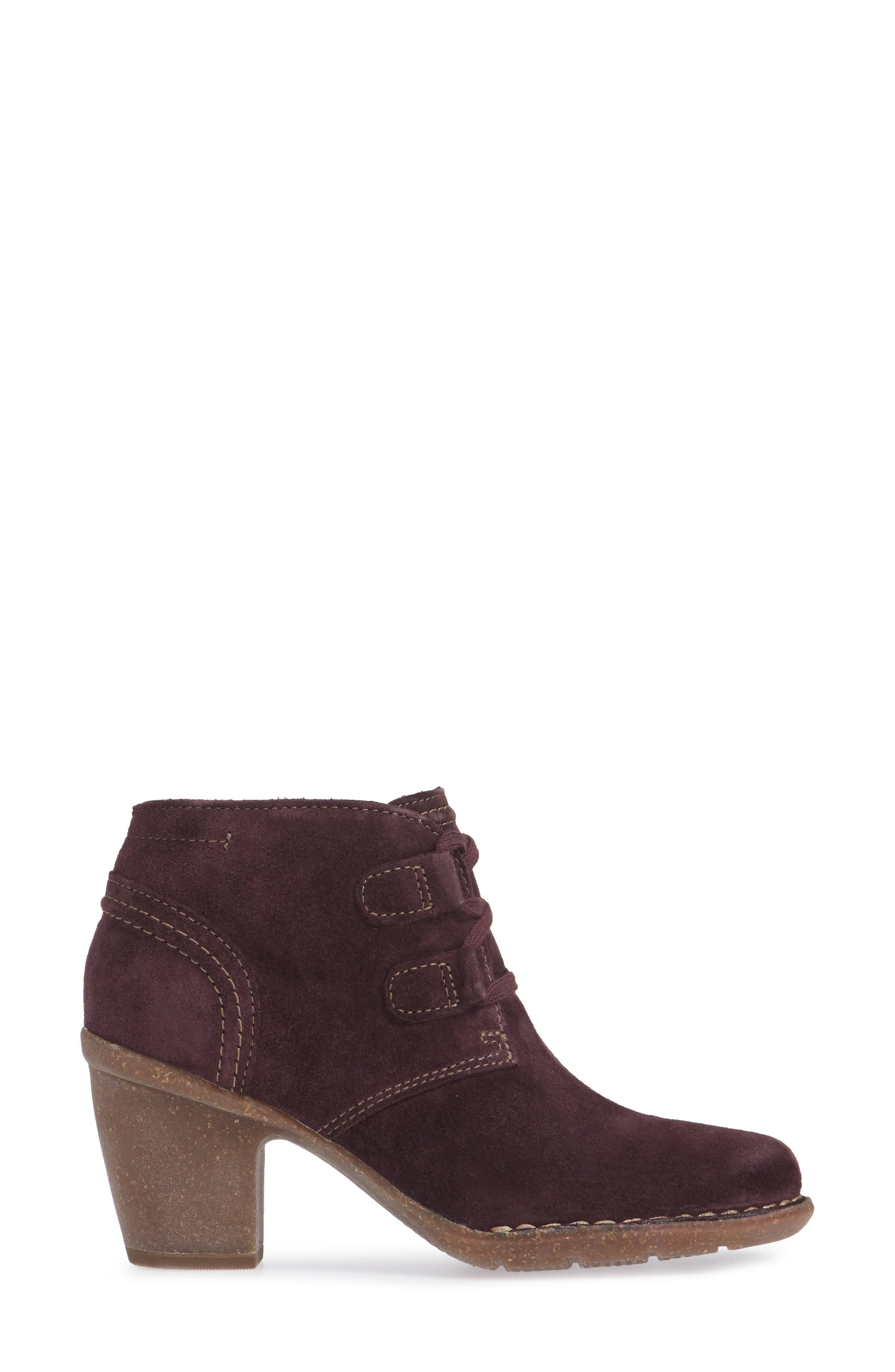 CLARKS<SUP>®</SUP>, Carleta Lyon Ankle Boot, Alternate thumbnail 3, color, AUBERGINE SUEDE