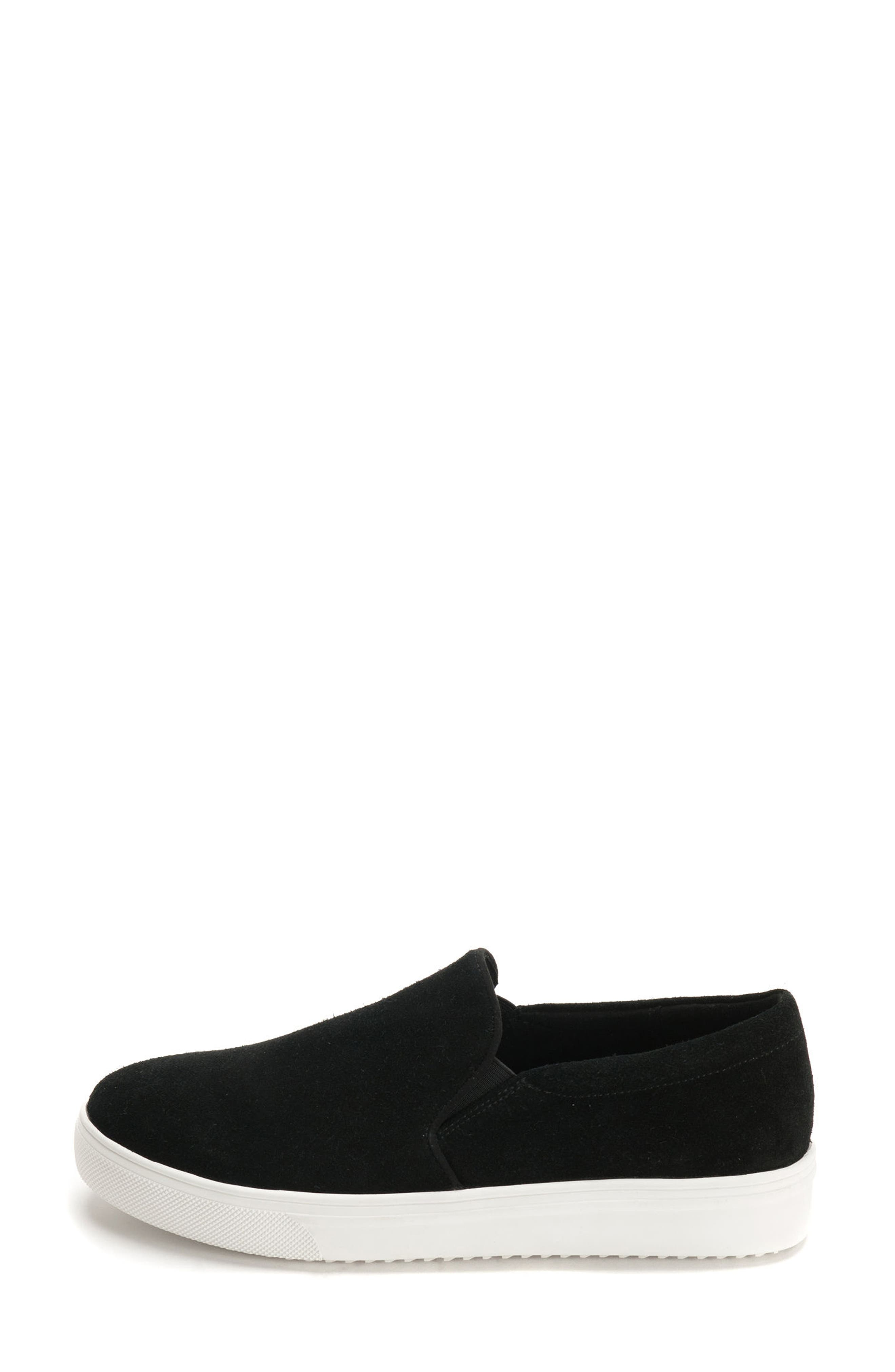 BLONDO, Gracie Waterproof Slip-On Sneaker, Alternate thumbnail 3, color, BLACK SUEDE