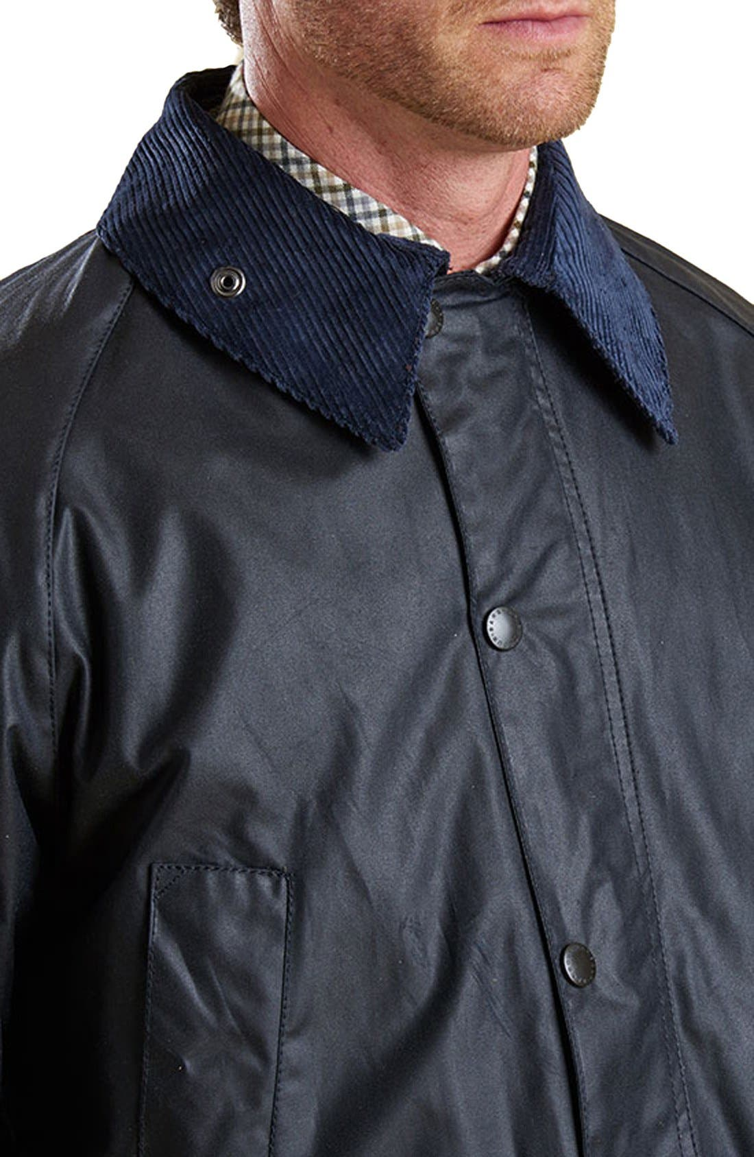BARBOUR, 'Bedale' Regular Fit Waxed Cotton Jacket, Alternate thumbnail 3, color, NAVY