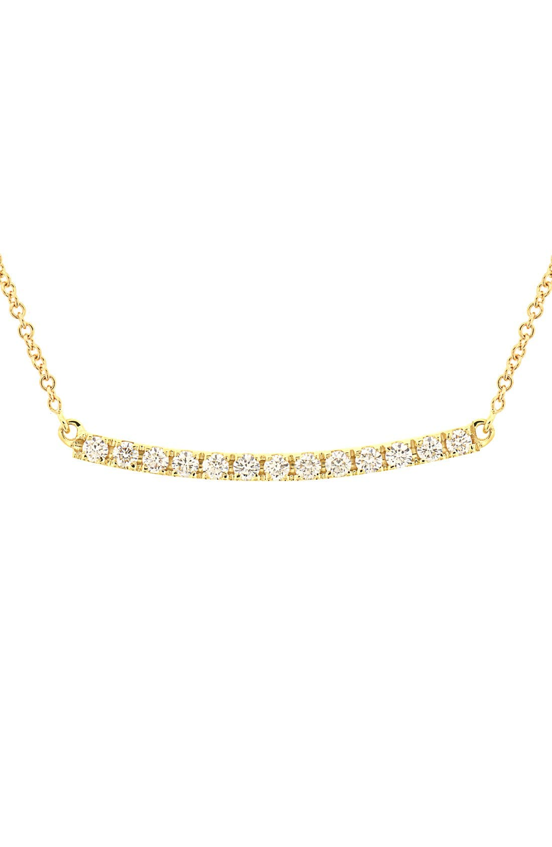 BONY LEVY Stick Pavé Diamond Bar Necklace, Main, color, YELLOW GOLD
