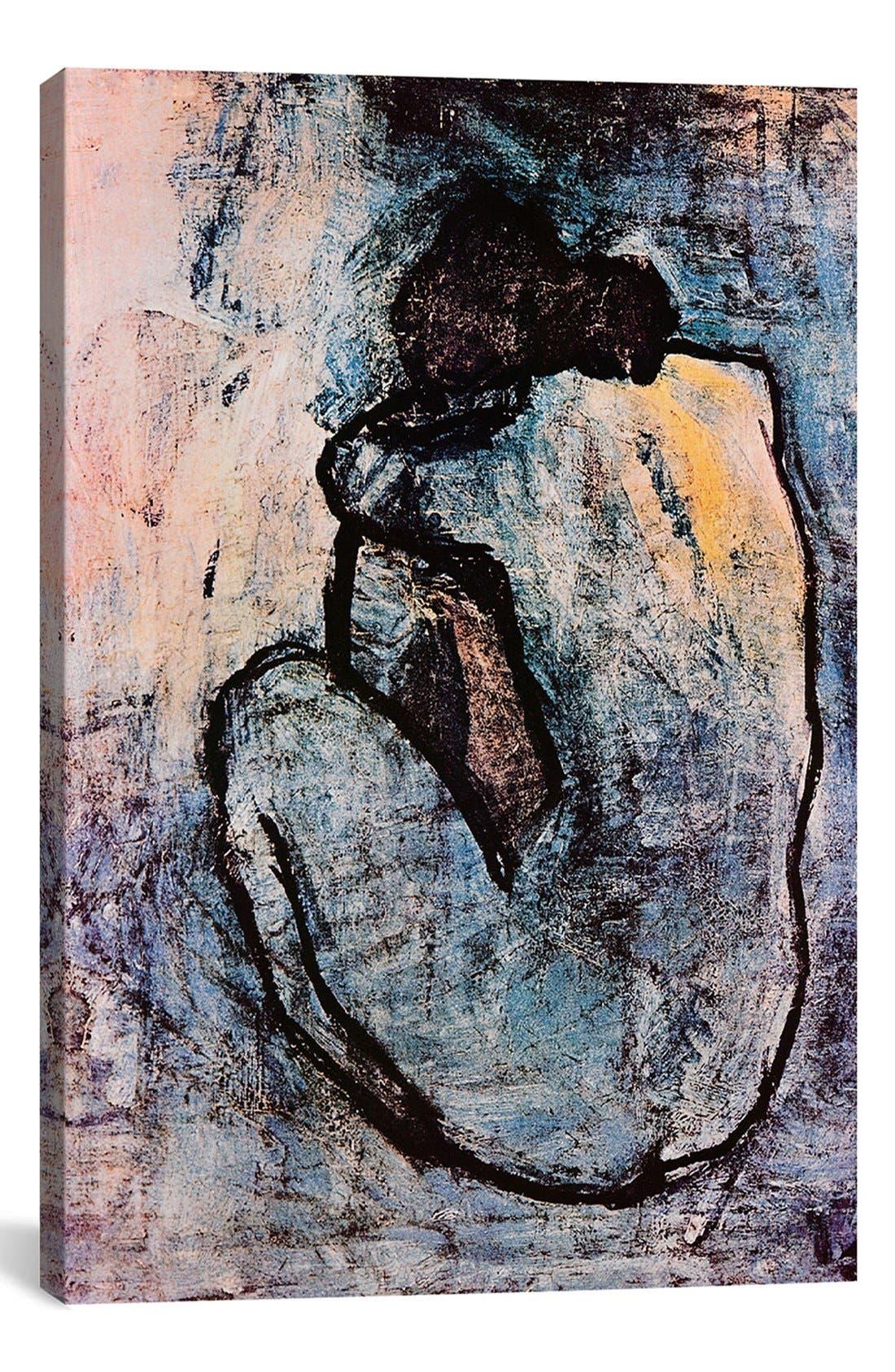 ICANVAS 'Blue Nude - Pablo Picasso' Giclée Print Canvas Art, Main, color, GREY